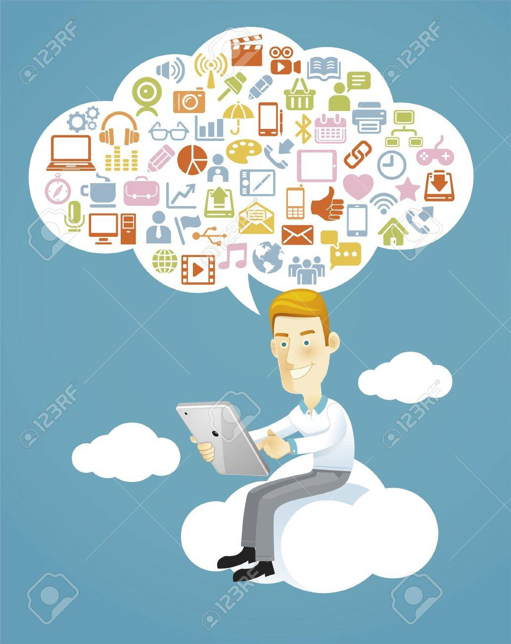 Business man using a tablet sitting on a cloud with social media, communication icons Stock Vector - 18759042
