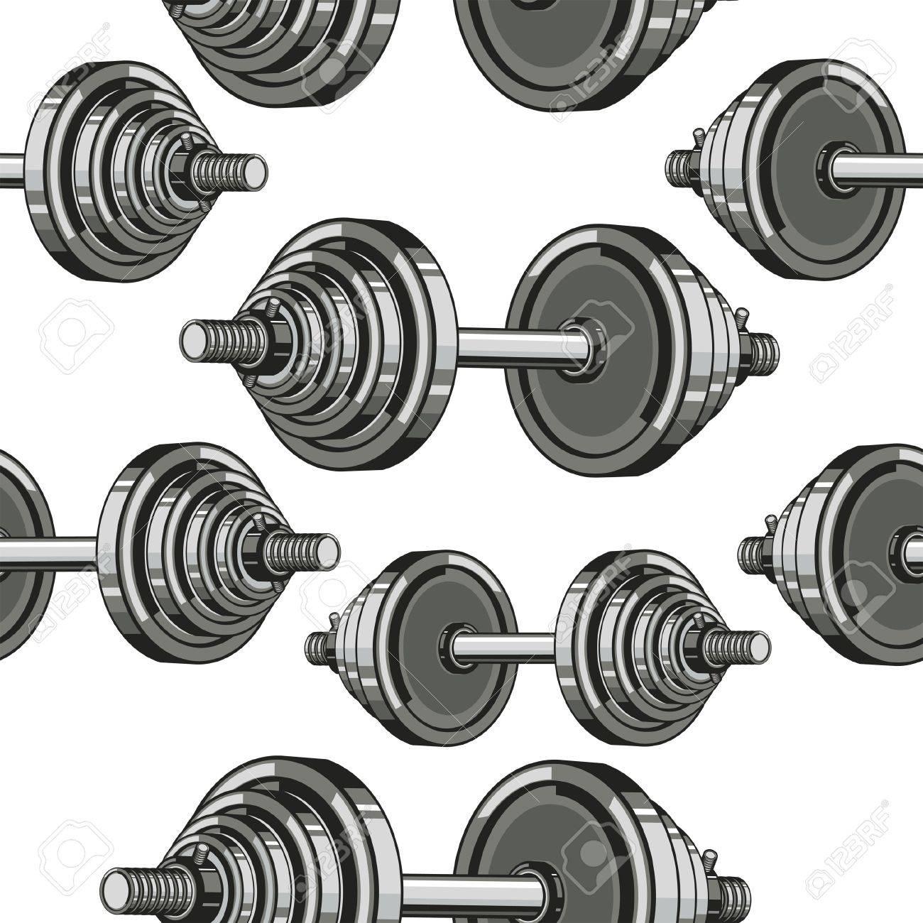 Dumbbells Seamless Pattern. Vector illustration Stock Vector - 18759040