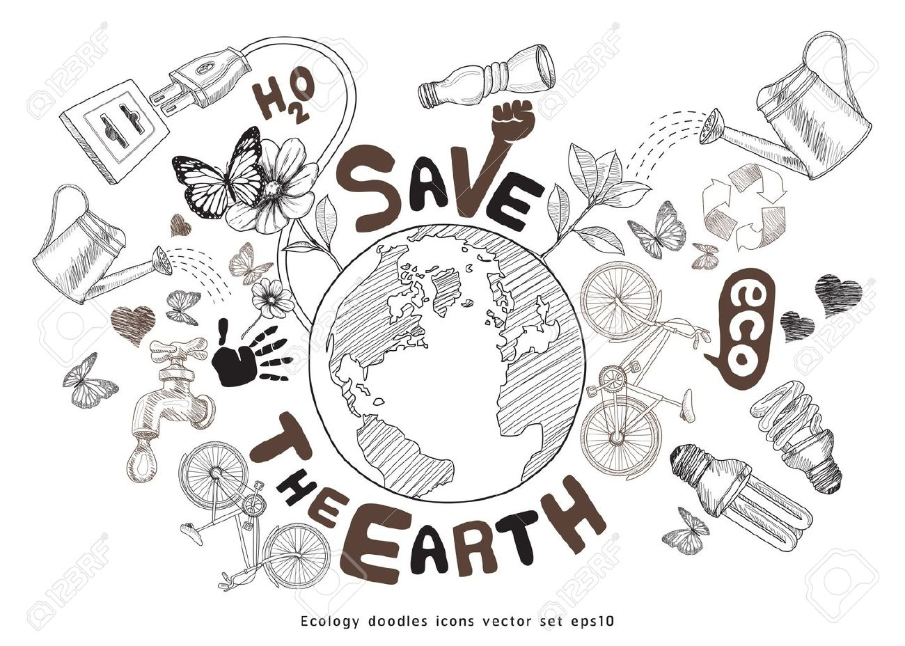 Green World Drawing Concept Save The Earth Ecology Doodles
