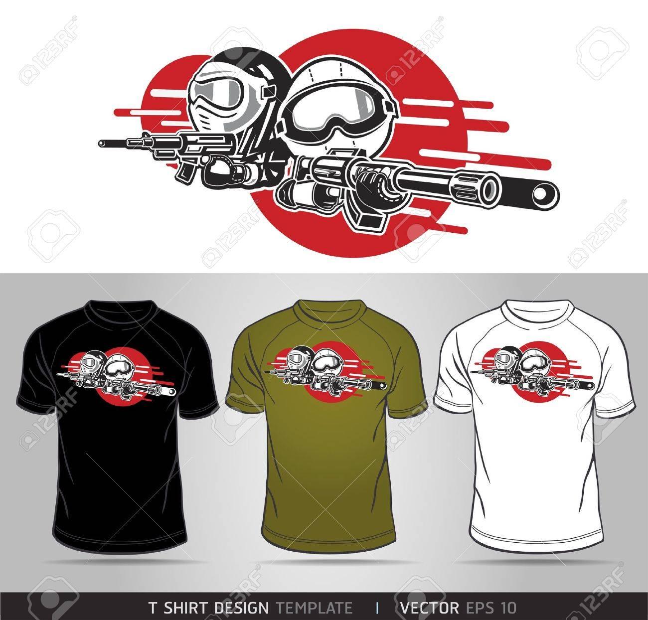 Shirt design vector - Cartoon Boy And Girl Play Airsoft Guns Vector T Shirt Design Stock Vector