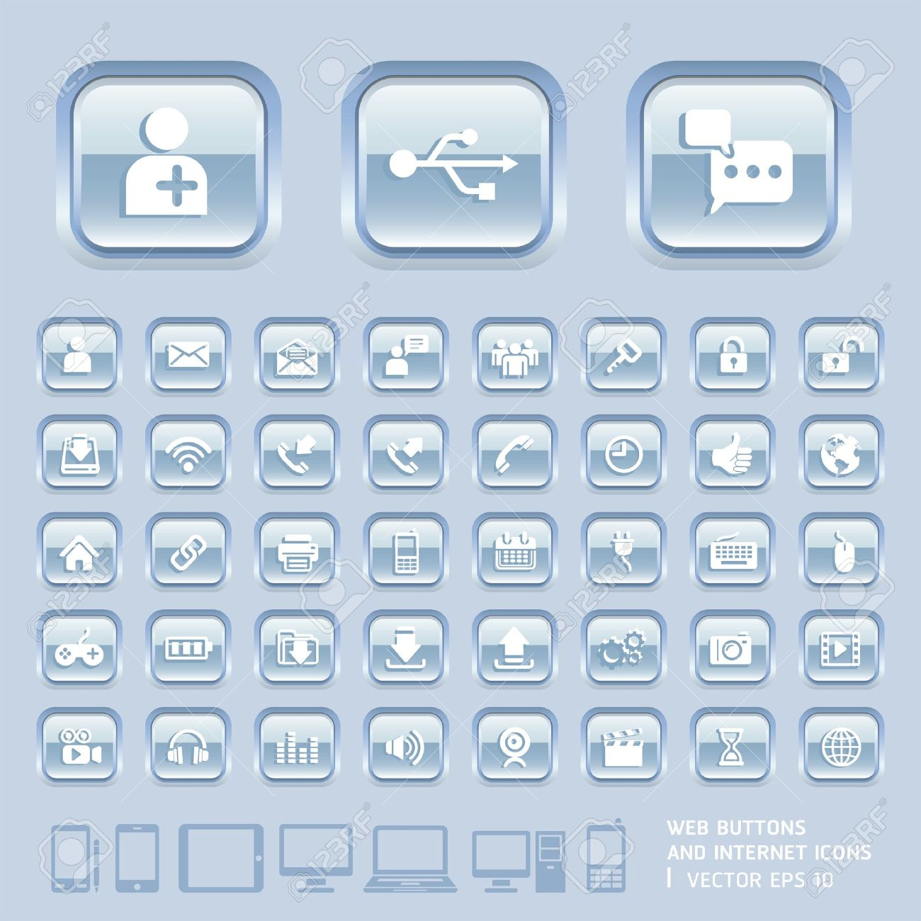 Blue Glass Buttons and Internet Icons for Web, Applications and Tablet Mobile  Vector illustration Stock Vector - 18759006