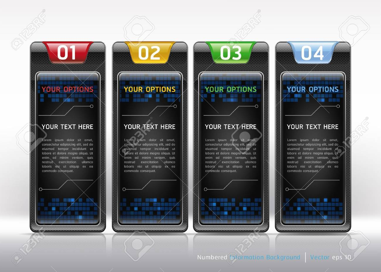 Colorful Buttons Website Style Number Options Banner   Card Background  Vector illustration Stock Vector - 18759128