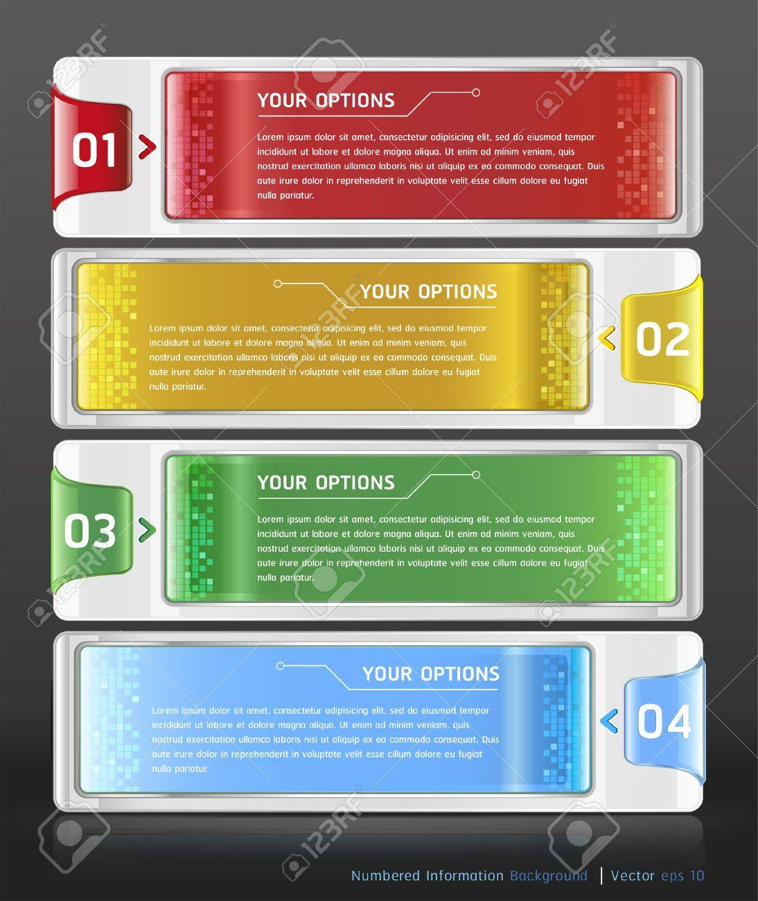 Colorful Buttons Website Style Number Options Banner   Card Background  Vector illustration Stock Vector - 18759235