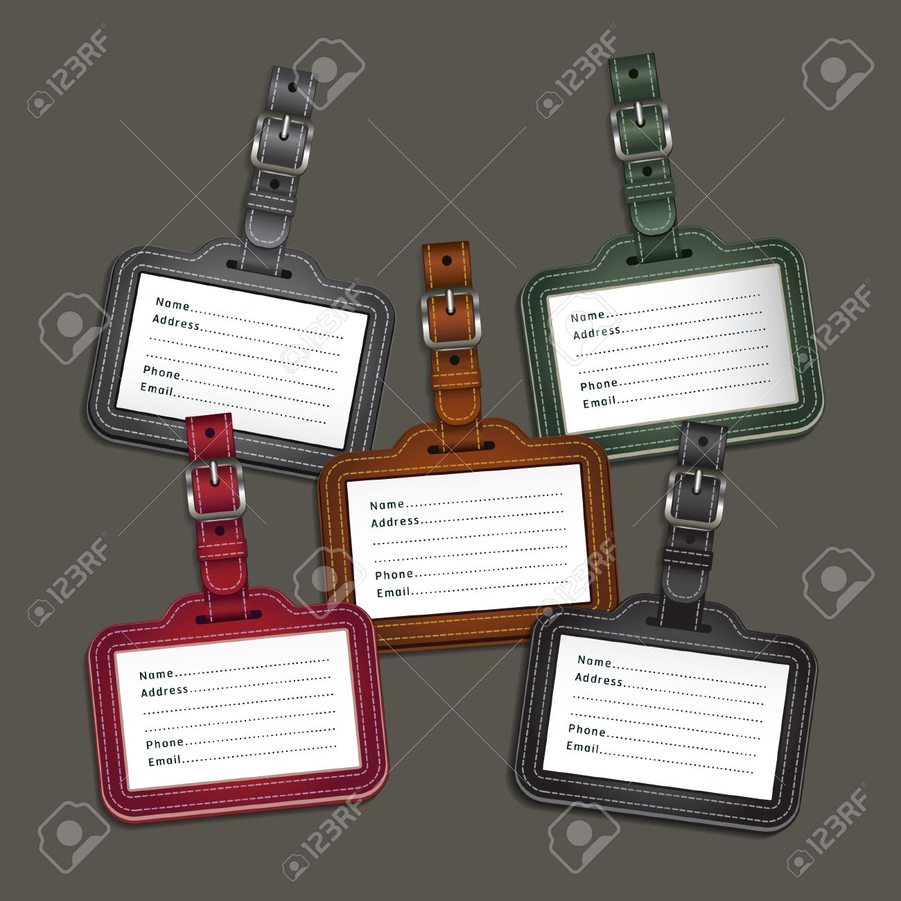 Leather luggage tags labels  Vector illustration Stock Vector - 18759153