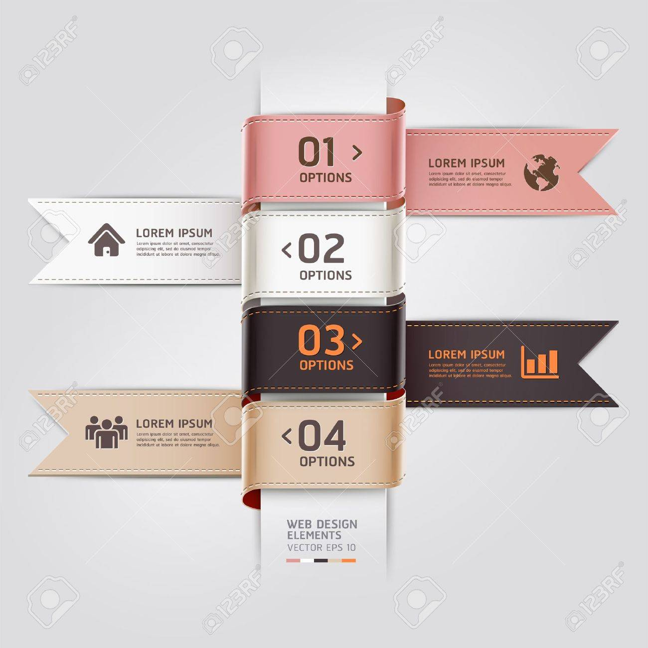 Modern web design template ribbon style.  illustration. can be used for workflow layout, diagram, number options, step up options, web template, infographics Stock Vector - 19093315