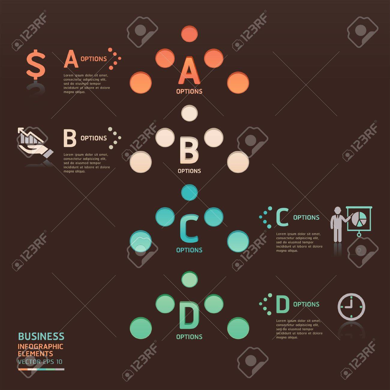 Abstract business dot arrow options  Vector illustration  can be used for workflow layout, diagram, number options, web design, infographics Stock Vector - 19187709
