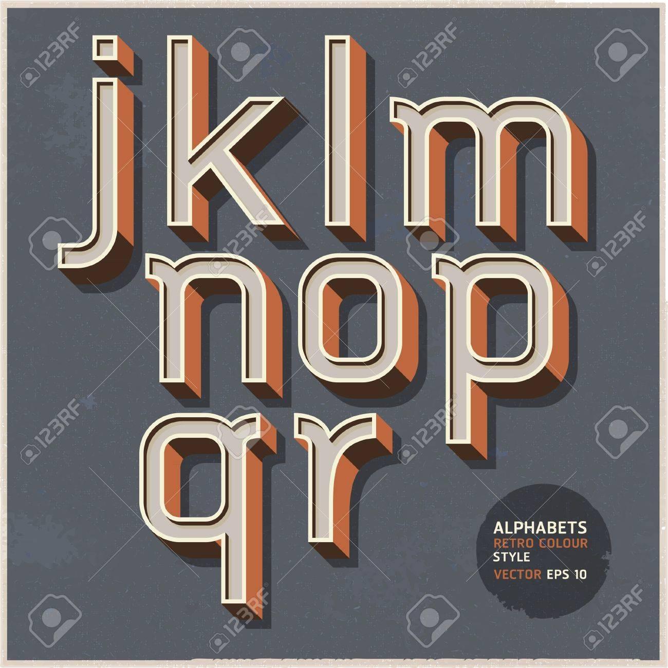 Alphabet retro colour style  Vector illustration Stock Vector - 19489960