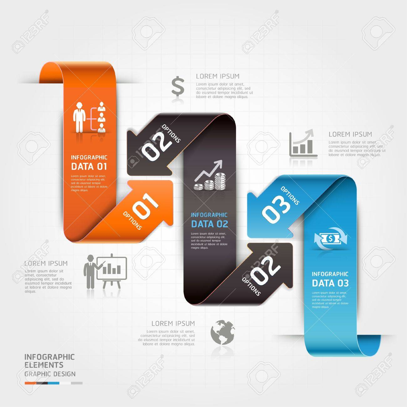 Modern business arrow infographics template  Vector illustration  can be used for workflow layout, diagram, number options, business step options, banner, web design Stock Vector - 19810610