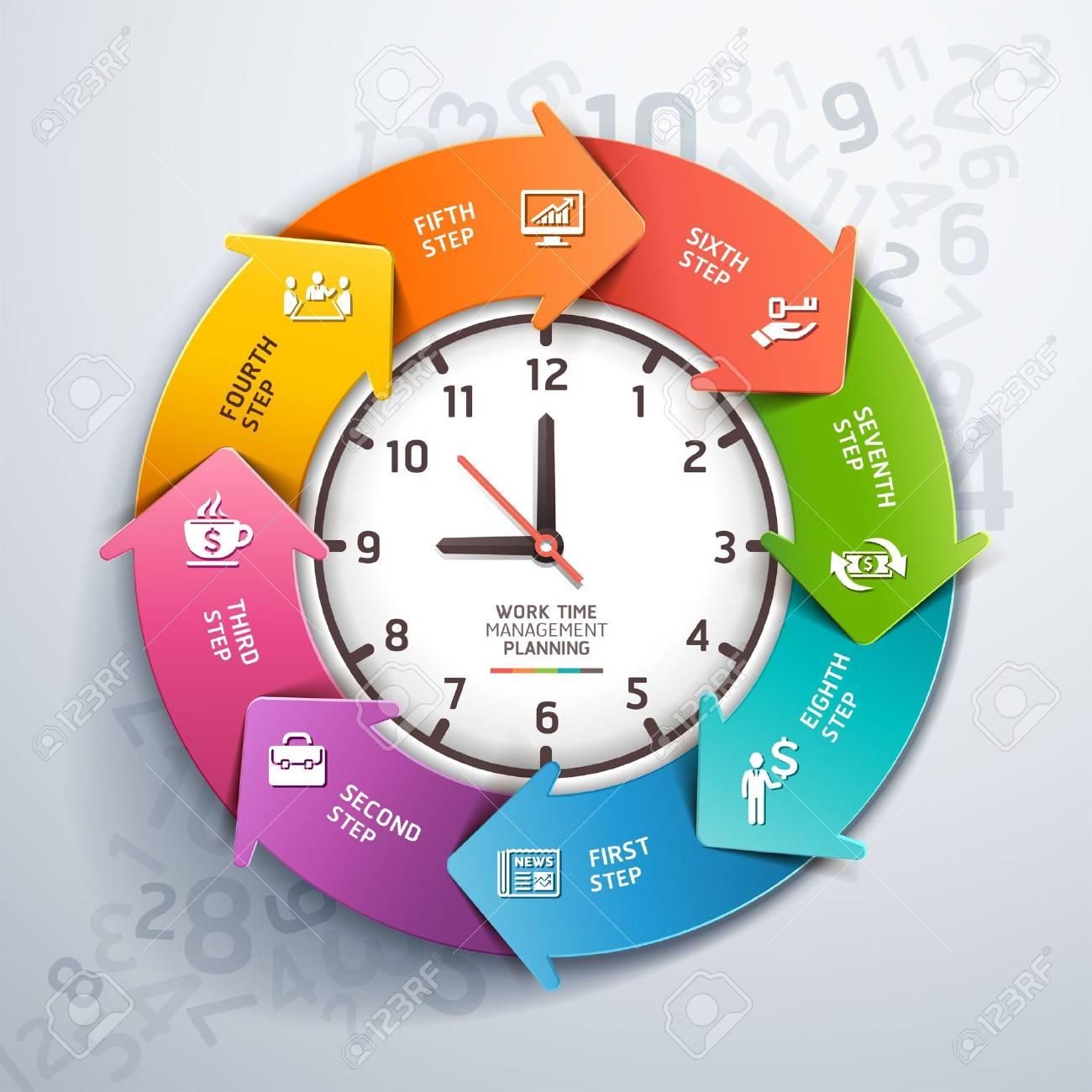 Modern Arrow Work Time Management Planning Infographics Template ...