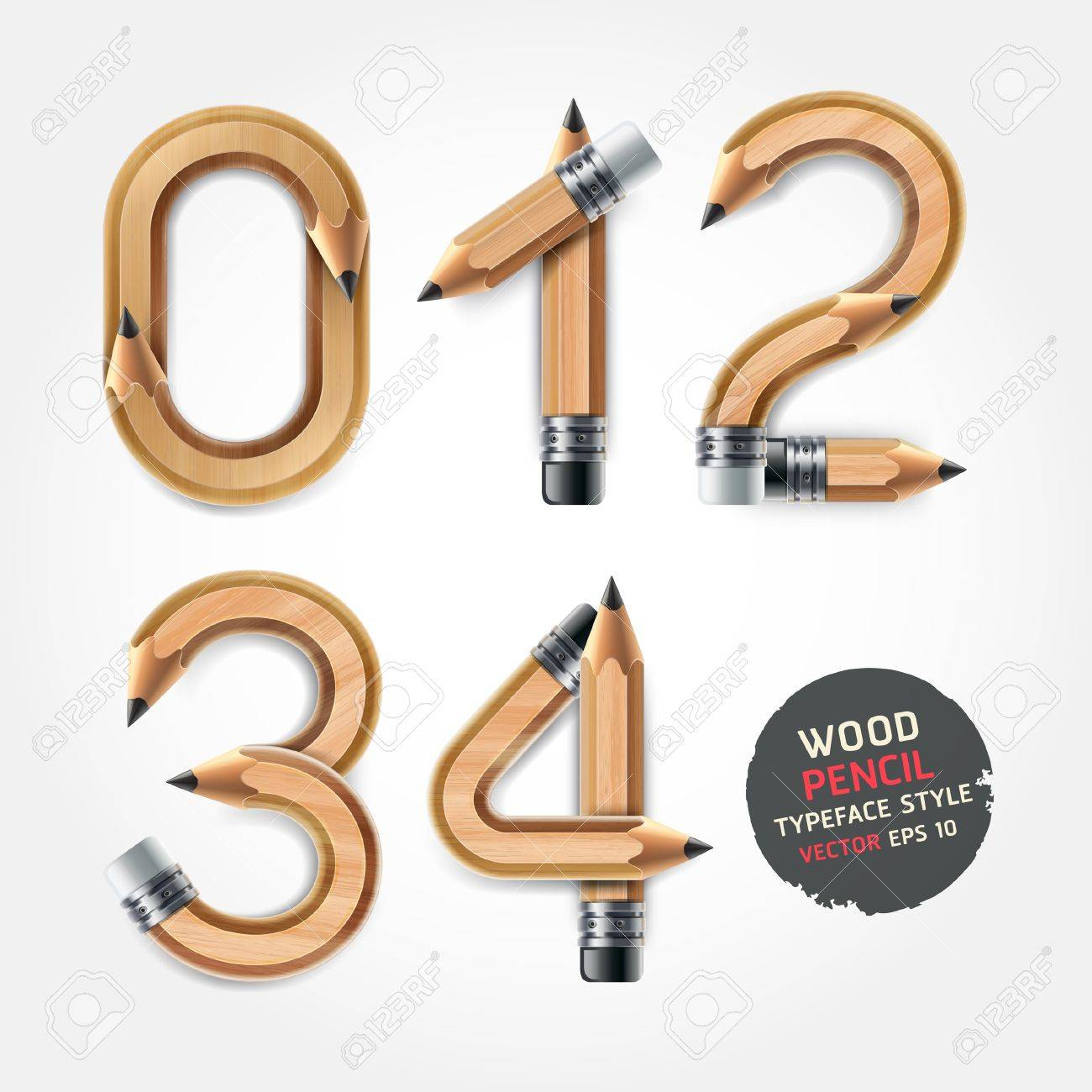 Wood pencil numbers alphabet style. Vector illustration. Stock Vector - 21601575