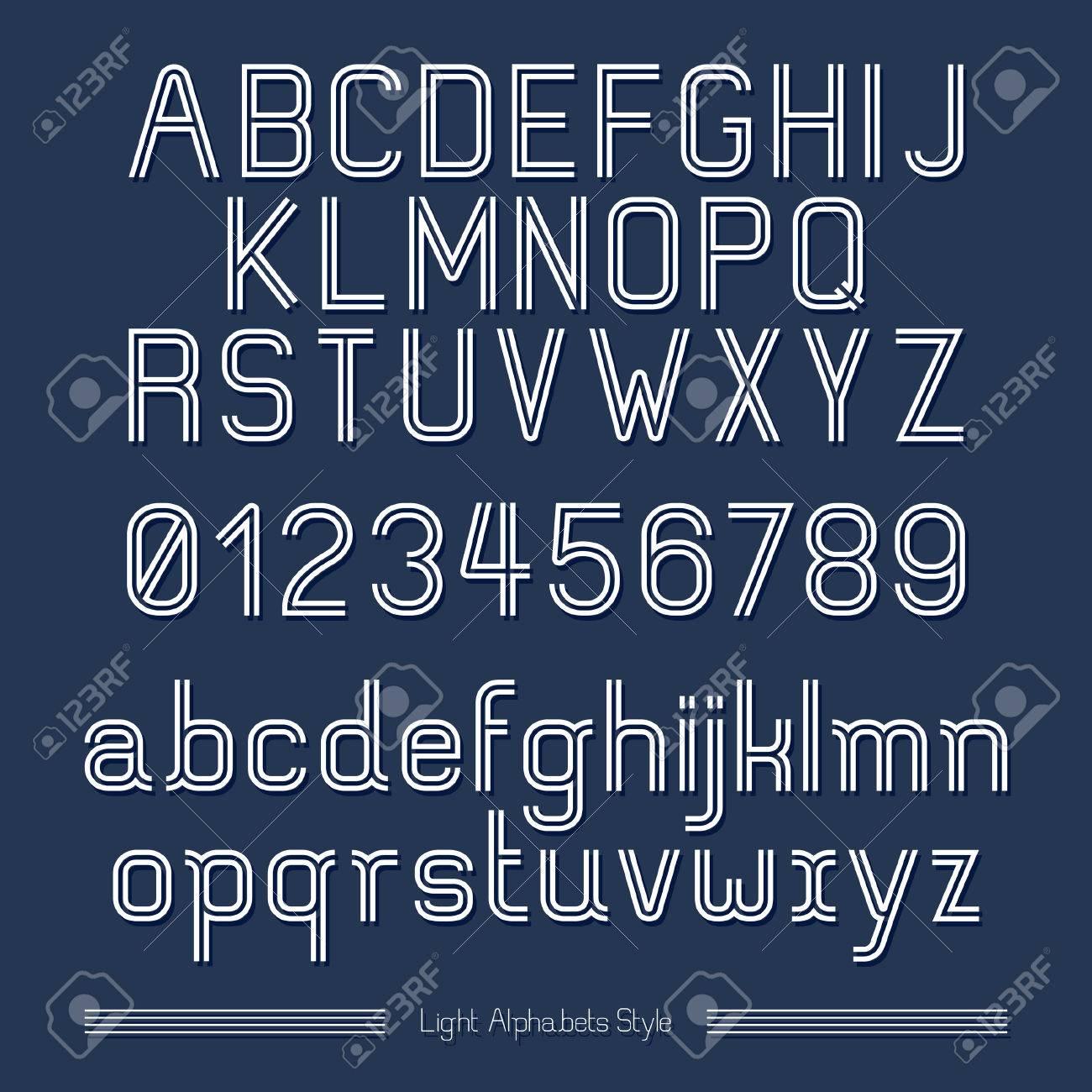 Alphabet Line stripes style on blue background. Vector illustration. Stock Vector - 22958017