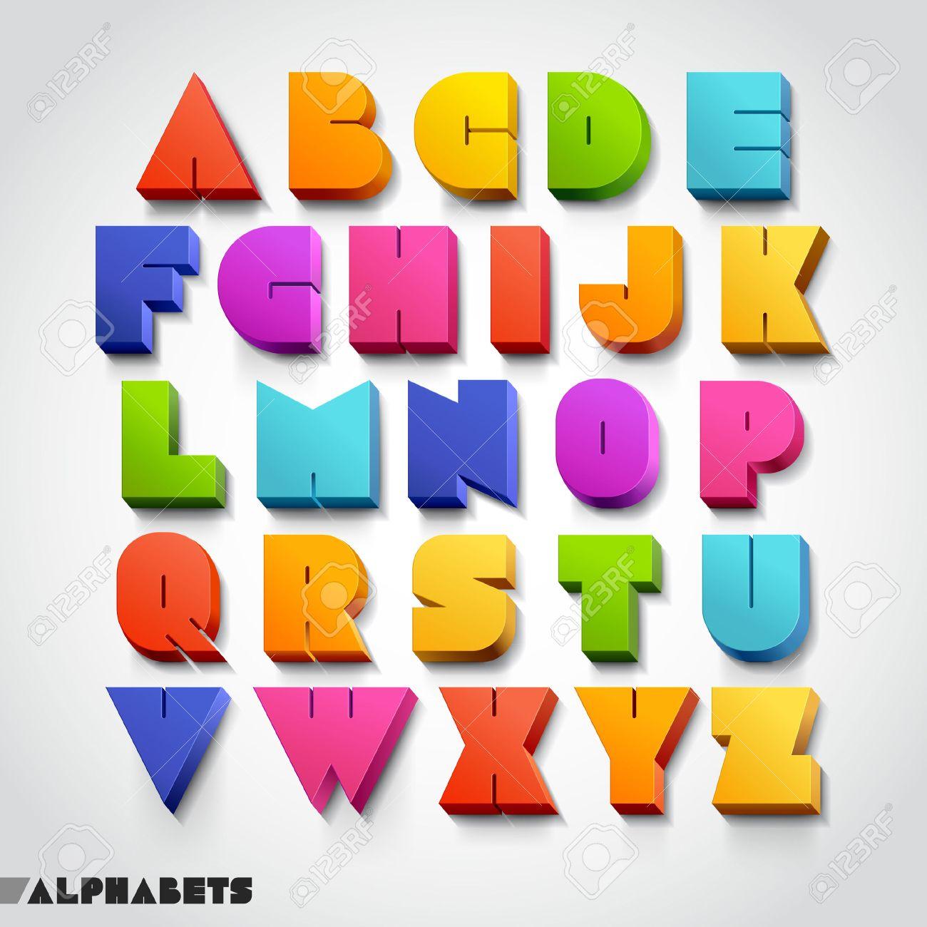 3D alphabet colorful font style. Vector illustration. - 24028254