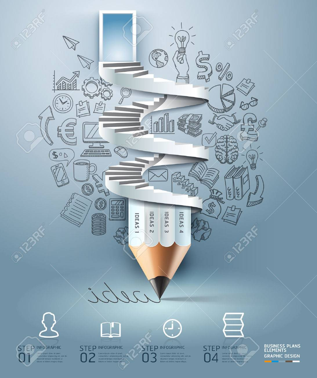 Business pencil staircase Infographics option. Vector illustration. can be used for workflow layout, banner, diagram, number options, step up options, web design. - 26561987