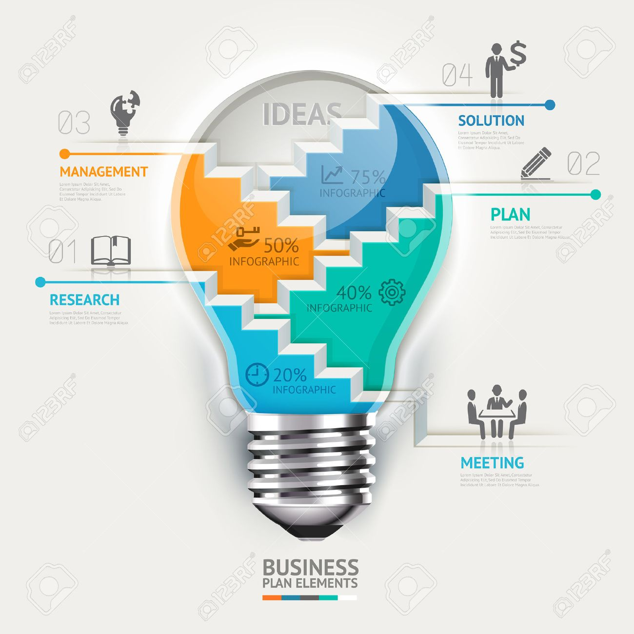 Business Concept Infographic Template. Lightbulb Staircase Idea ...