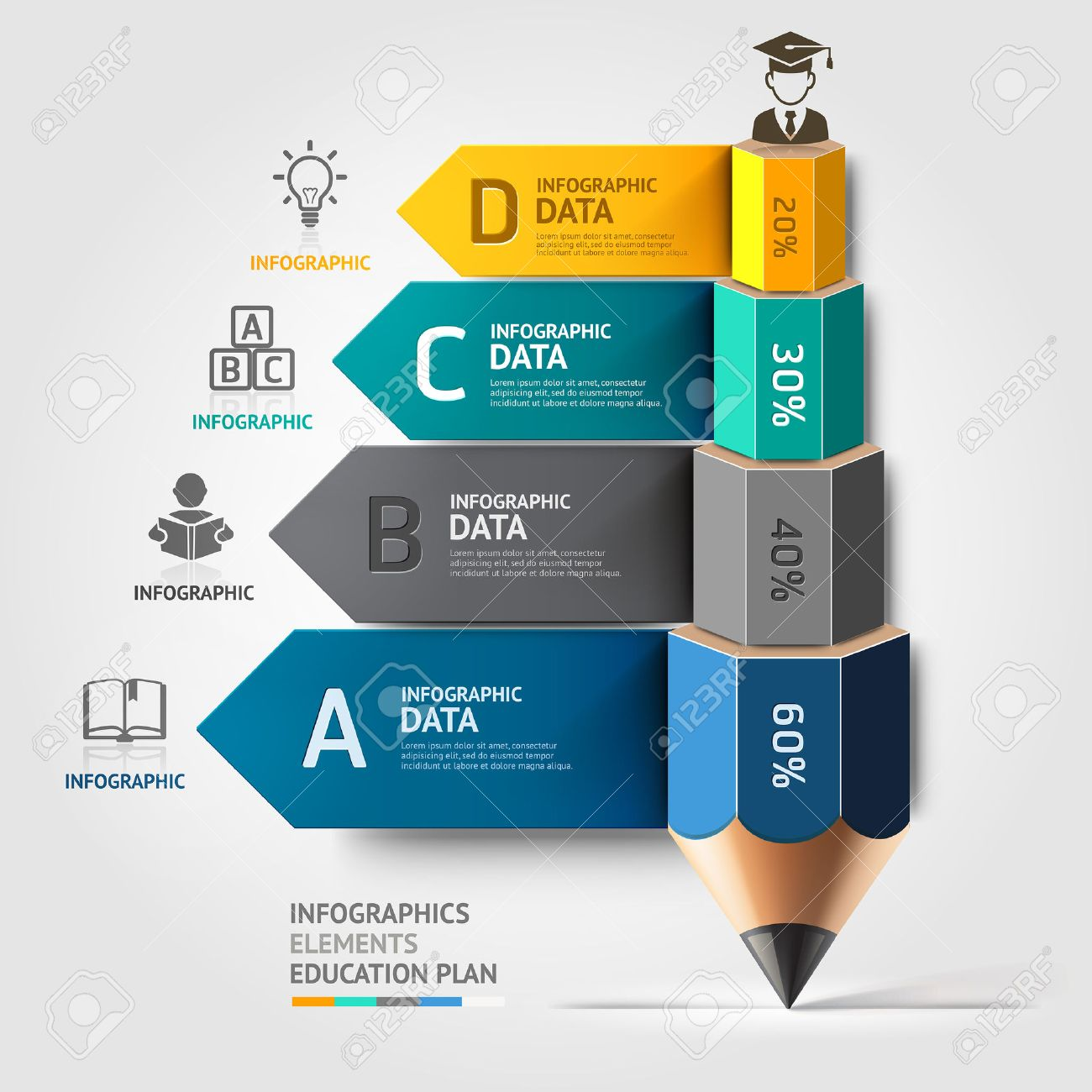 Business education pencil staircase Infographics option. Vector illustration. can be used for workflow layout, banner, diagram, number options, step up options, web design. Stock Vector - 28253438