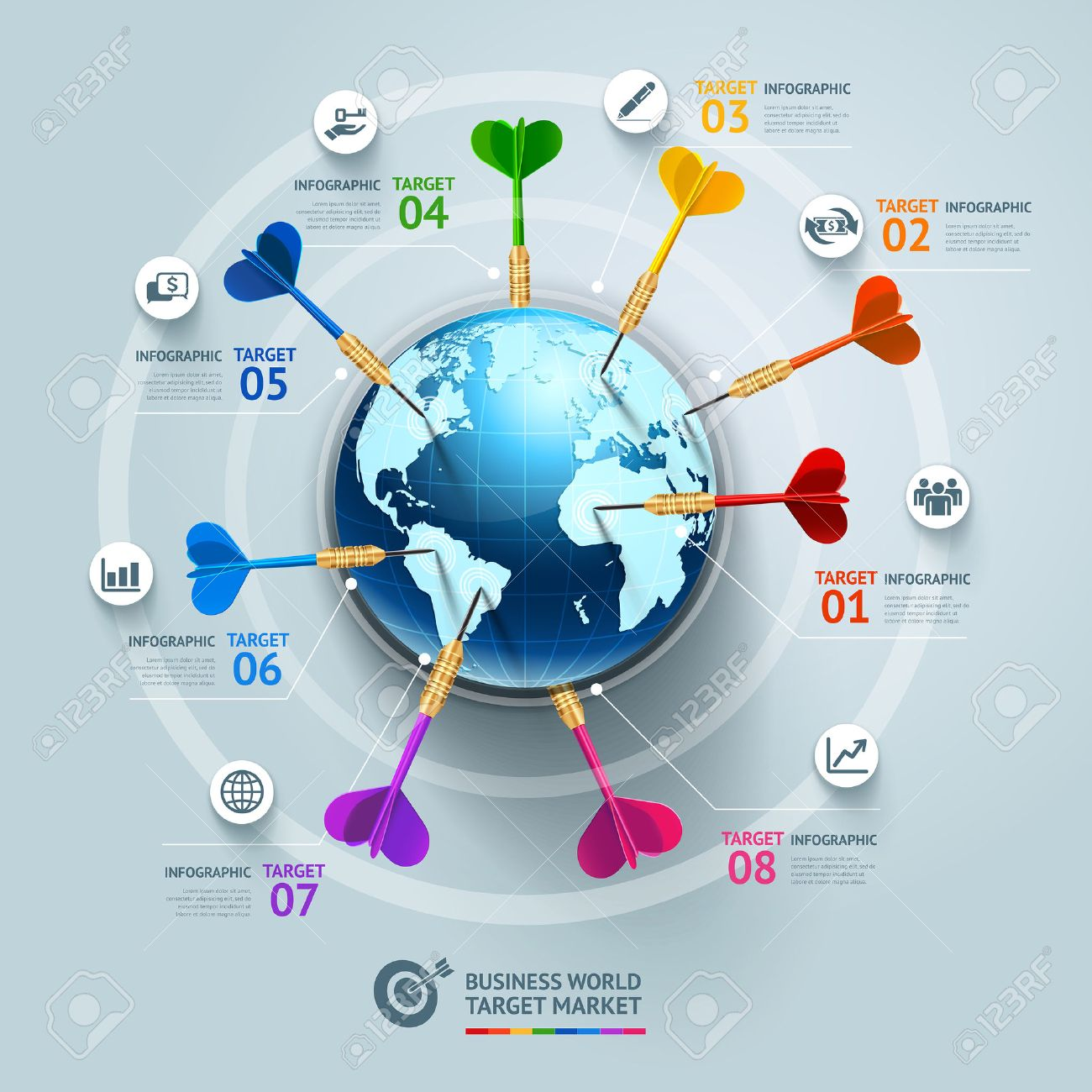Concepto De Negocio Plantilla De Infografía. Negocio Mundo Objetivo ...