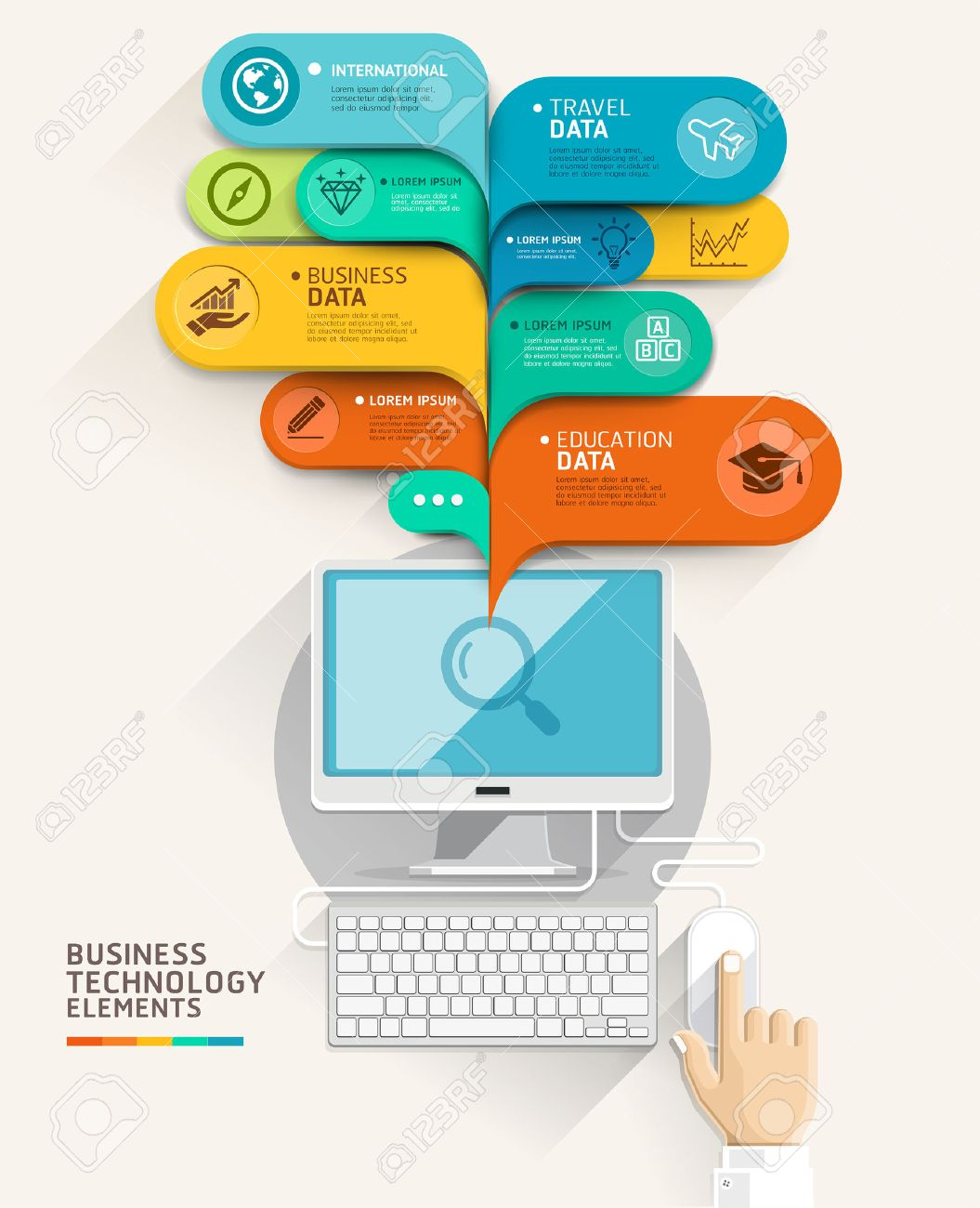 Business technology concept. Computer and bubble speech template. Vector illustration. can be used for workflow layout, diagram, number options, step up options, web design, banner template, infographic. - 30682775