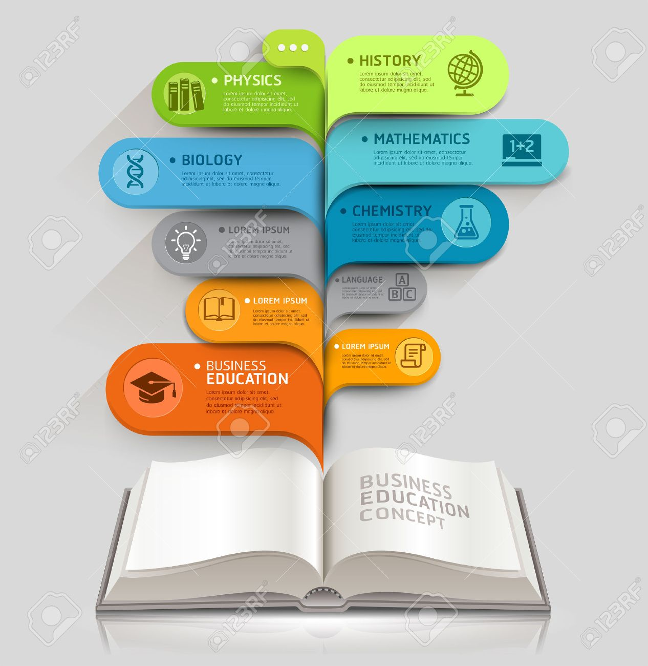 Education icons and Open books with bubble speech template  can be used for workflow layout, diagram, number options, step up options, web design, banner template, infographics Stock Vector - 30824798