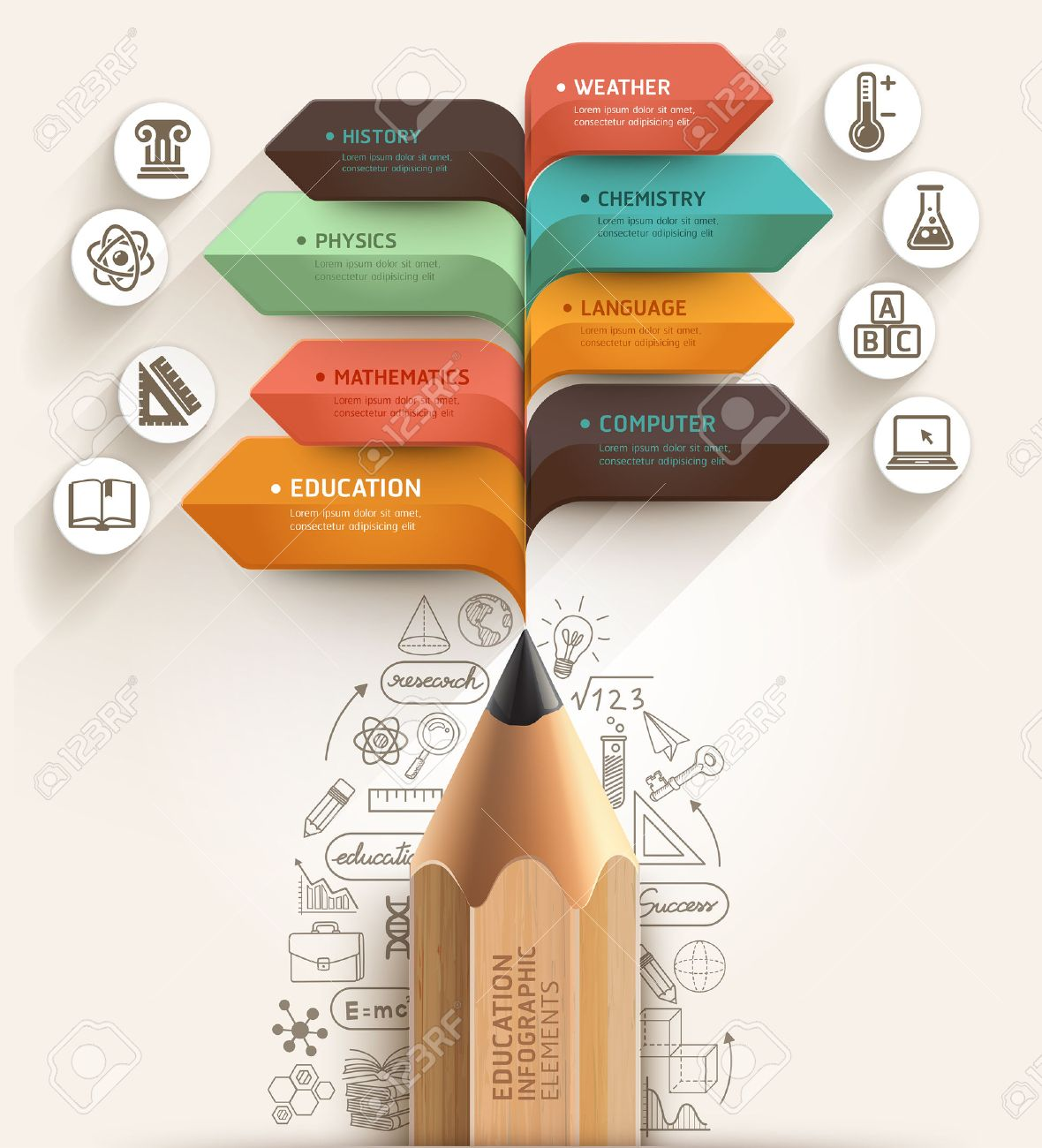 Education concept  Pencil and bubble speech arrow template  can be used for workflow layout, diagram, number options, step up options, web design, banner template, infographic Stock Vector - 30824841