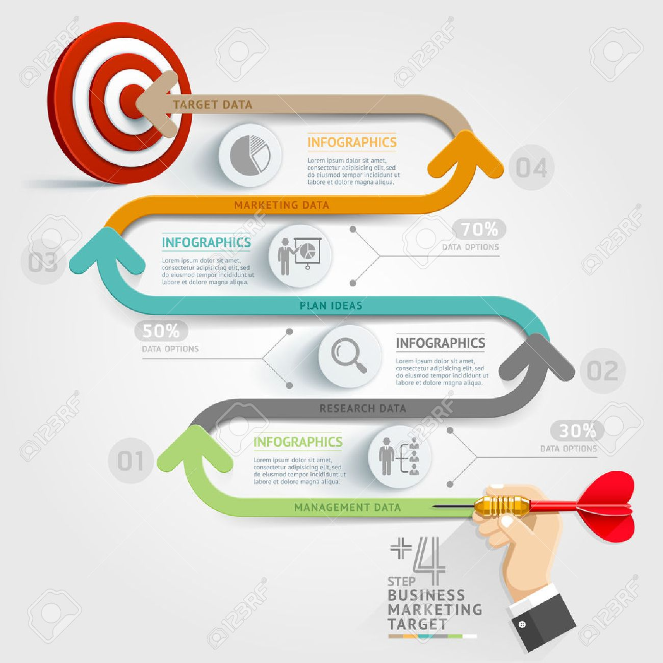 Business Concept Infographic Template Business Step Target – Business Timeline Template