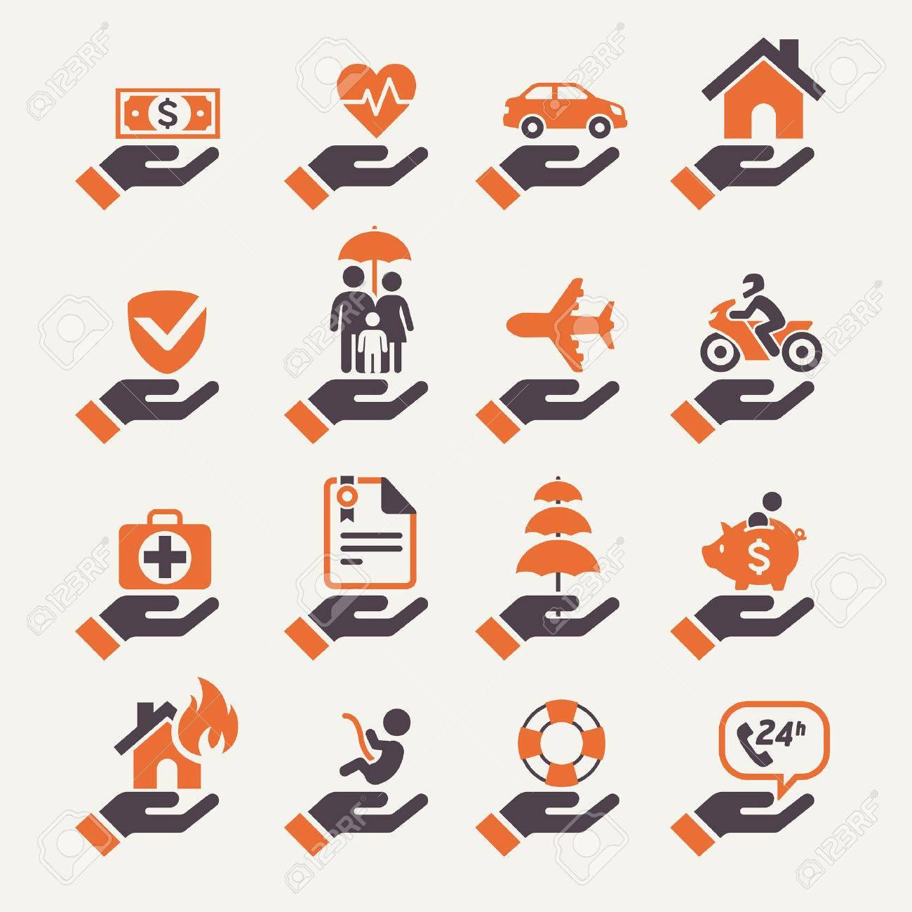 Insurance hand icons set. Vector Illustration. - 34423166