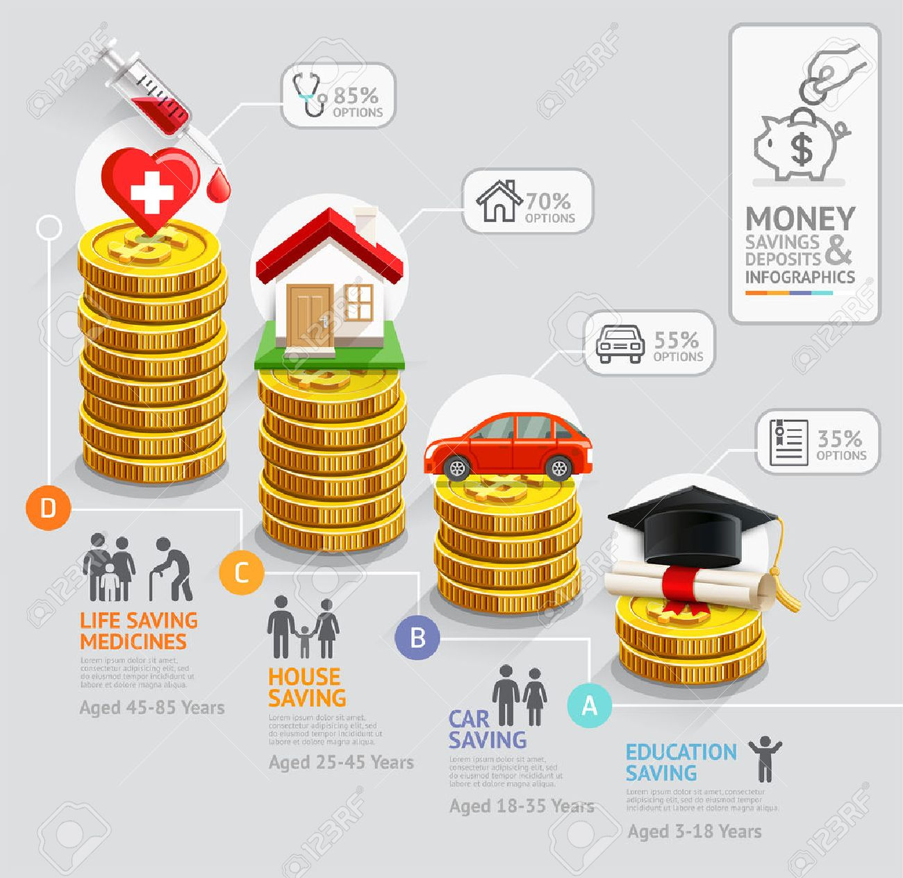 personal money saving planning infographics template gold coins