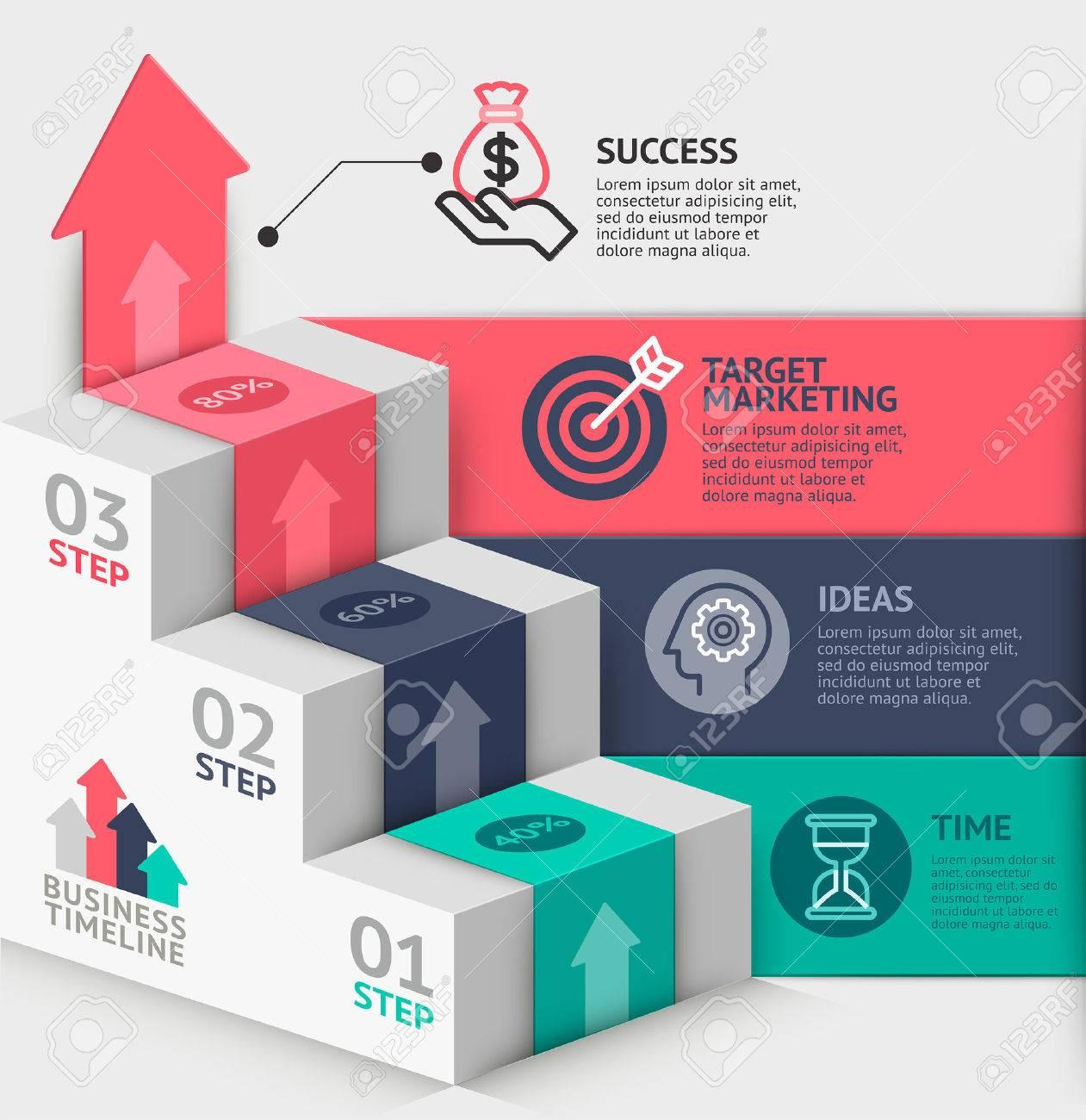 3D-Business-Treppe Diagrammvorlage. Vektor-Illustration. Kann Für ...