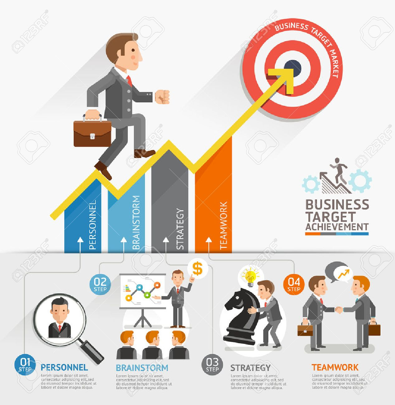 Business Growth Arrow Strategies Concept. Businessman walking on arrow. Vector illustration. Can be used for workflow layout, banner, diagram, number options, step up options, web design, timeline, infographic template. - 39941939