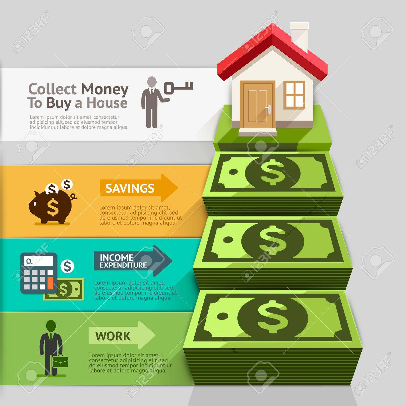 Business property concept collect money to buy a house vector collect money to buy a house vector illustration can be pooptronica