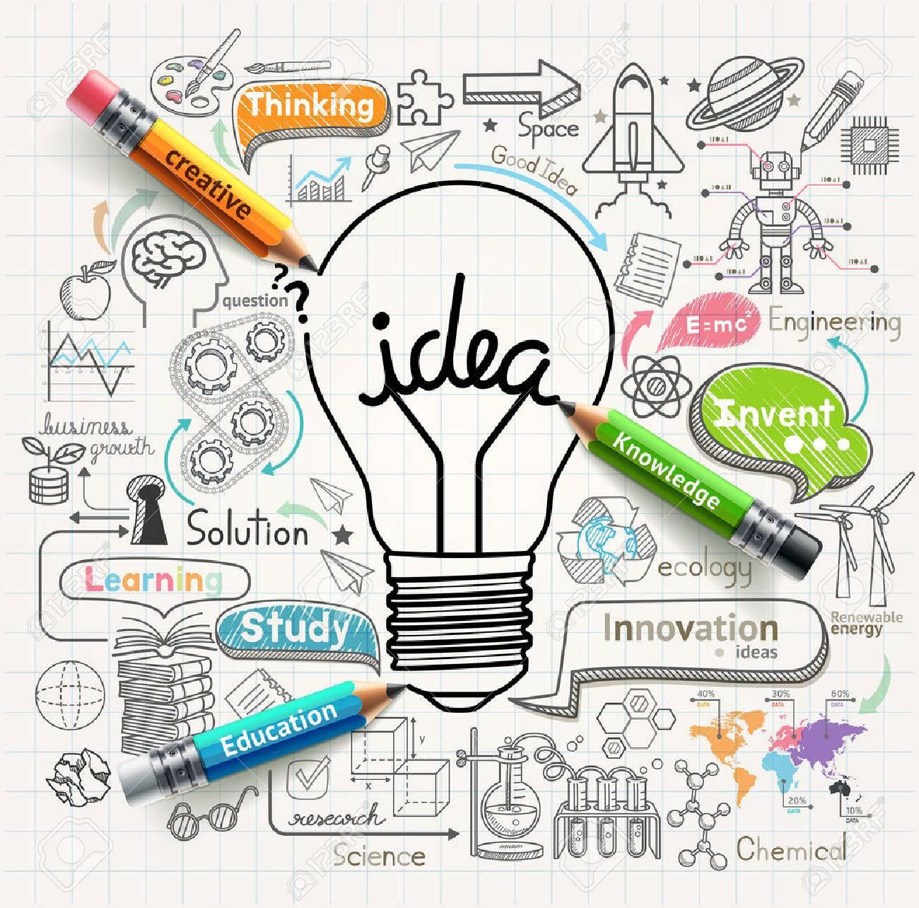 Lightbulb ideas concept doodles icons set - 43877911