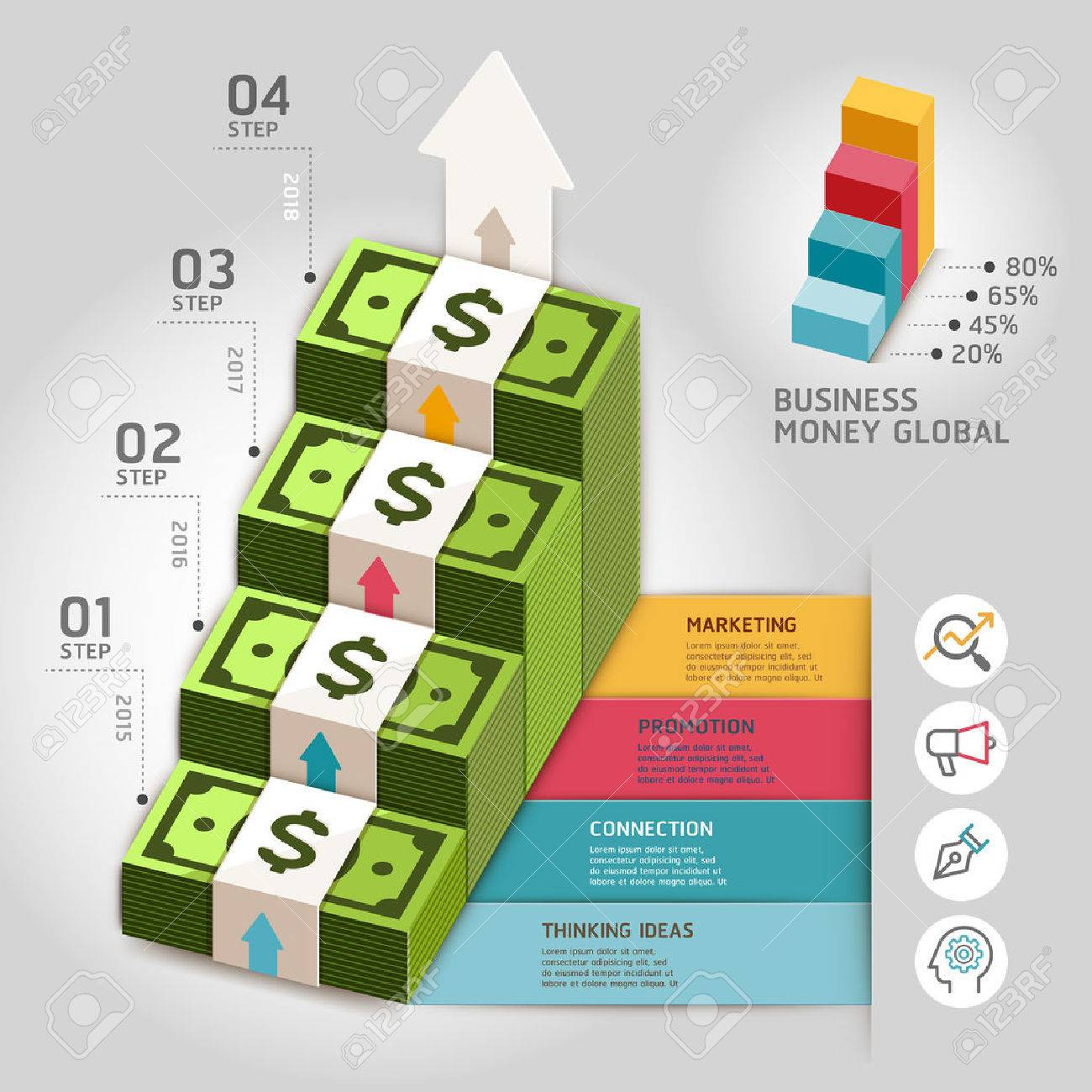 business money global arrow staircase template illustration