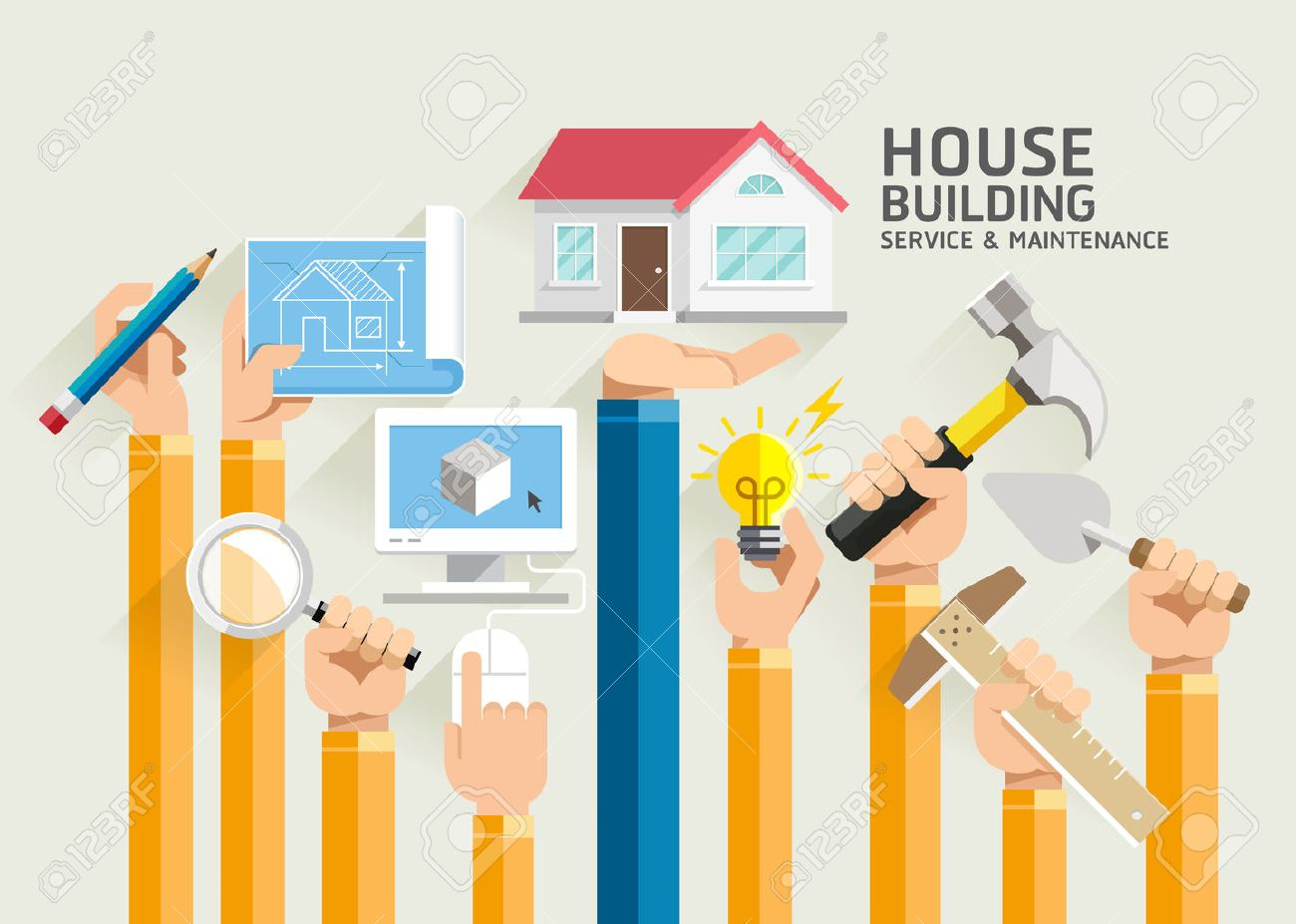 House Building Service and Maintenance. Illustrations. - 50958305