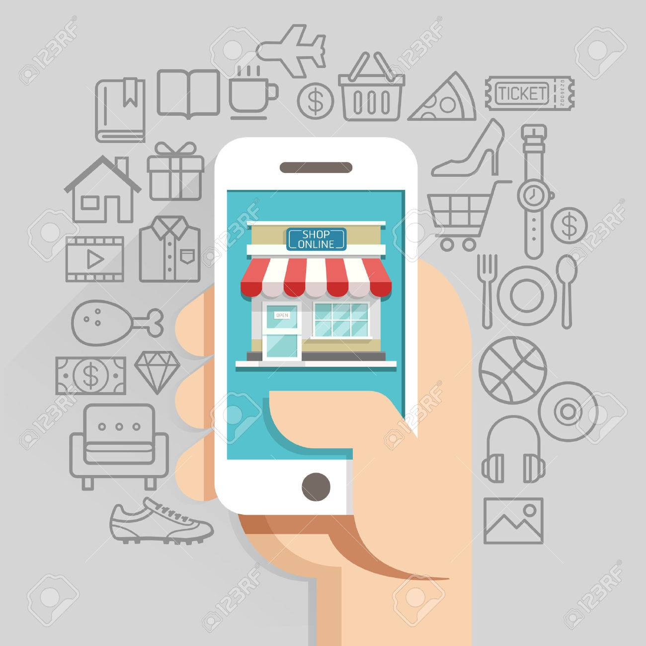 Shopping online business conceptual flat style. illustration. Can be used for workflow layout template, diagram, number options, web design, infographics, timeline. - 50958311