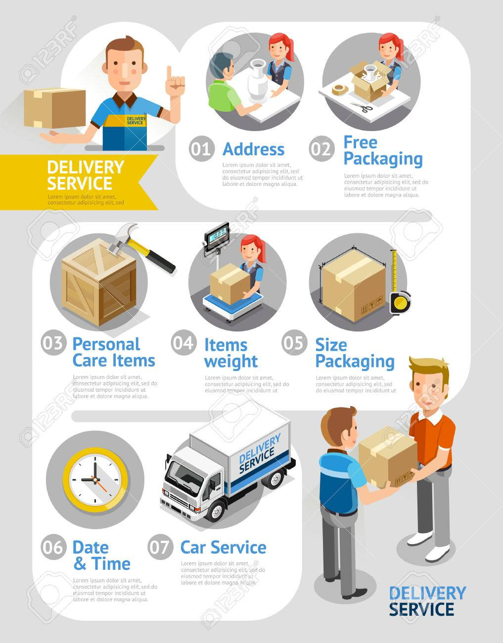 Delivery Service Conceptual Isometric Flat Style. Illustration. Can Be Used For Workflow Layout Template, Diagram, Number Options, Web Design, Infographics, Timeline. - 50958310