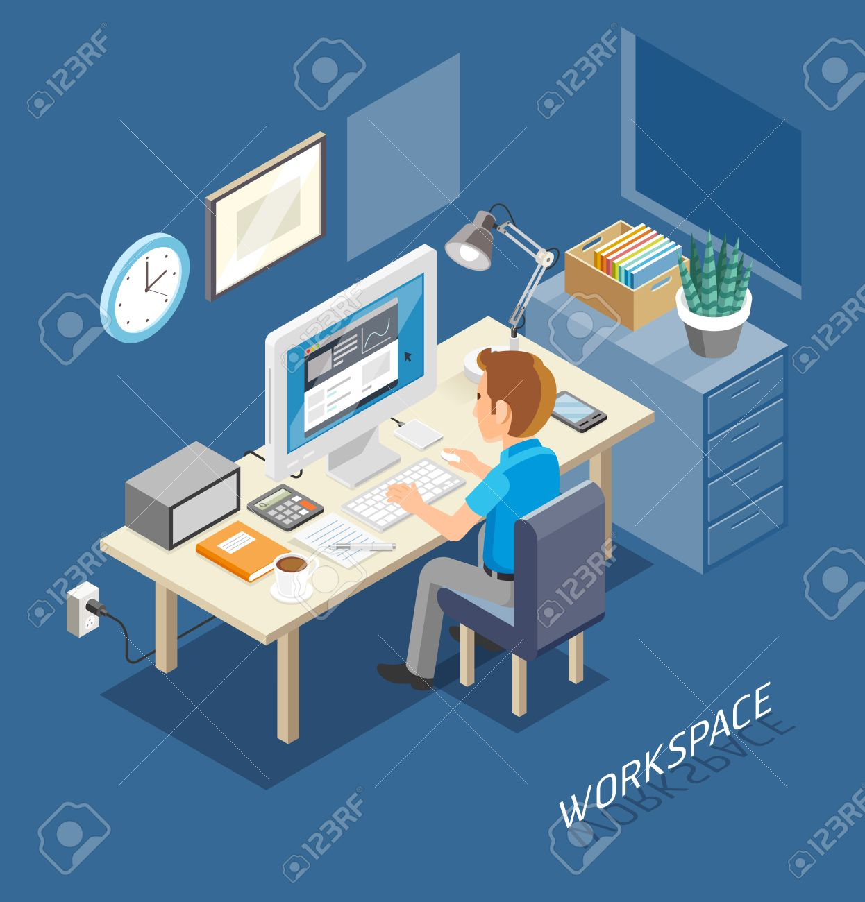 Work Space Isometric Flat Style. Business People Working On An Office Desk. Illustration. - 50958314