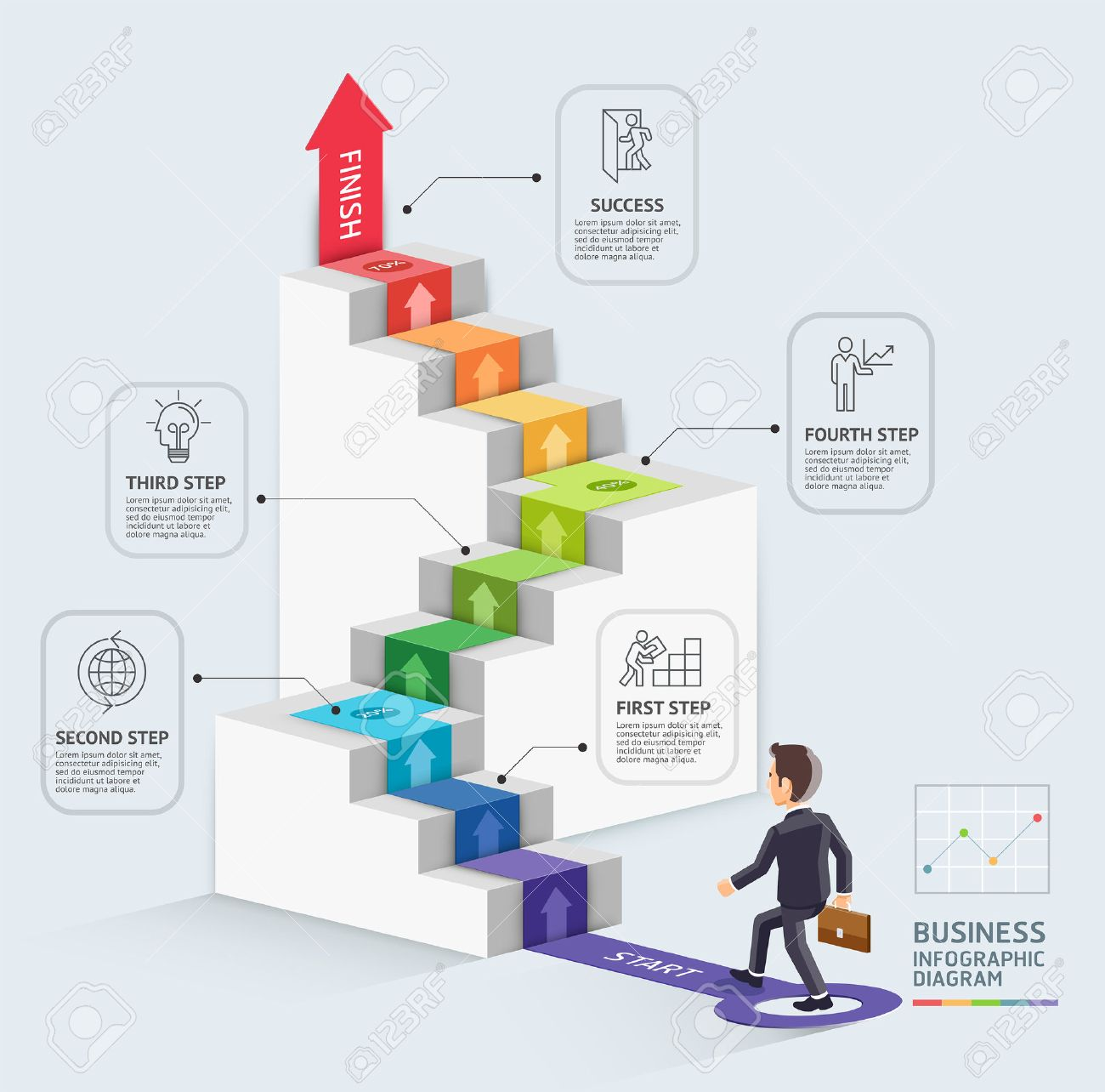Steps to starting a business template. Businessman walking up an arrow. Vector illustration. Can be used for workflow layout, diagram, number options, web design, infographics and timeline. - 53756568