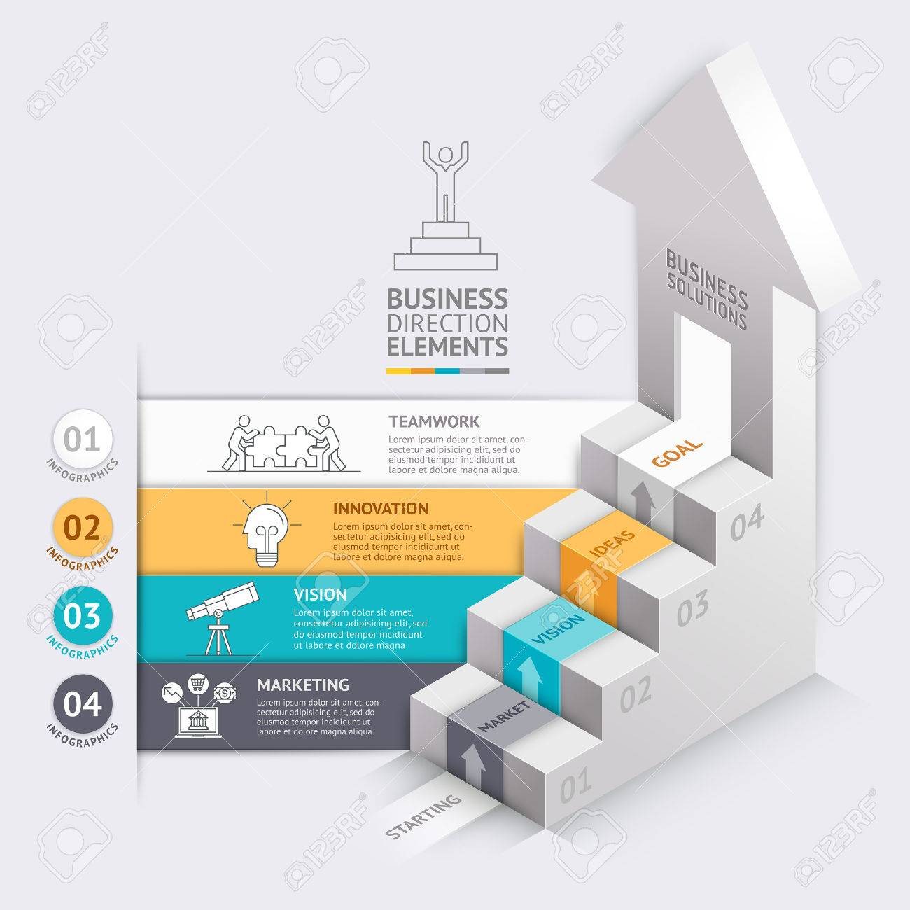 3d Business Arrows Staircase Diagram Template. Illustration ...