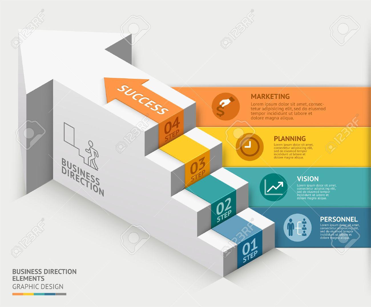 3D-Business-Treppe Diagrammvorlage. Illustration. Kann Für Die ...
