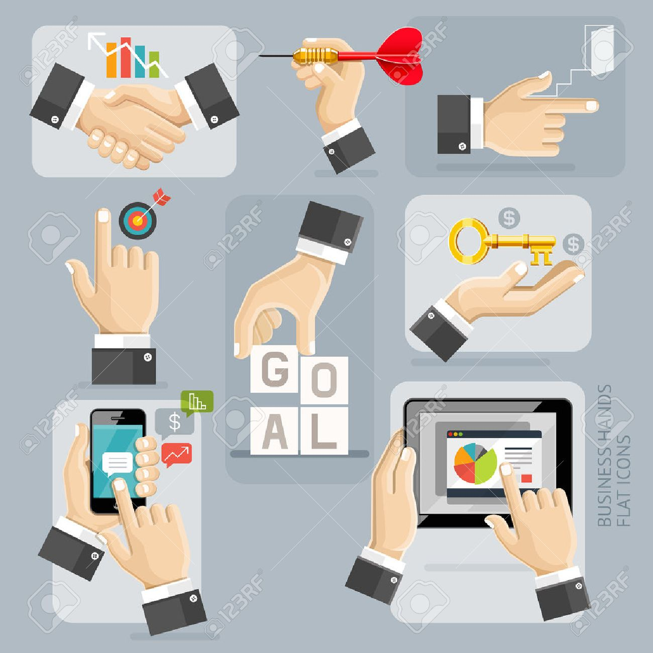 Business Hands Flat Icons Set. Illustration. Stock Vector - 54547877
