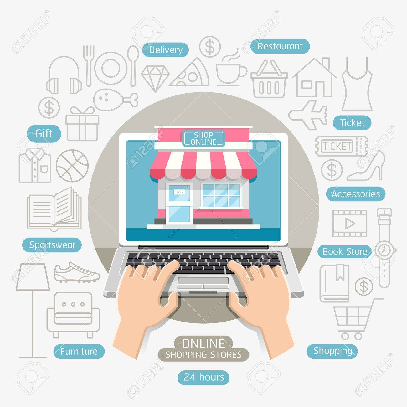Shopping Online Business Conceptual Flat Style. Can Be Used For ...