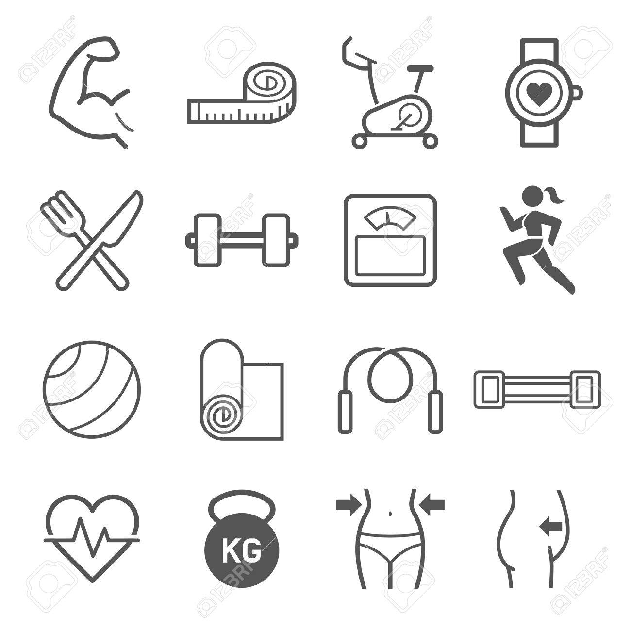 Set of exercise icons. illustrations. - 57844706