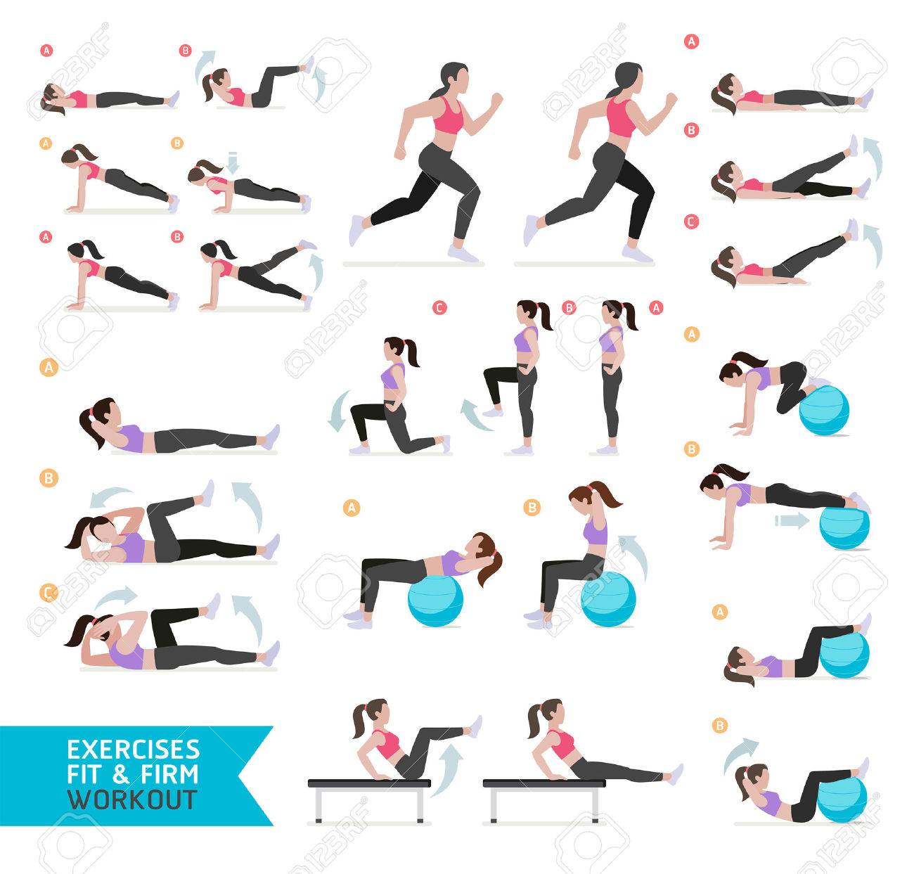 Woman workout fitness, aerobic and exercises. - 59040047