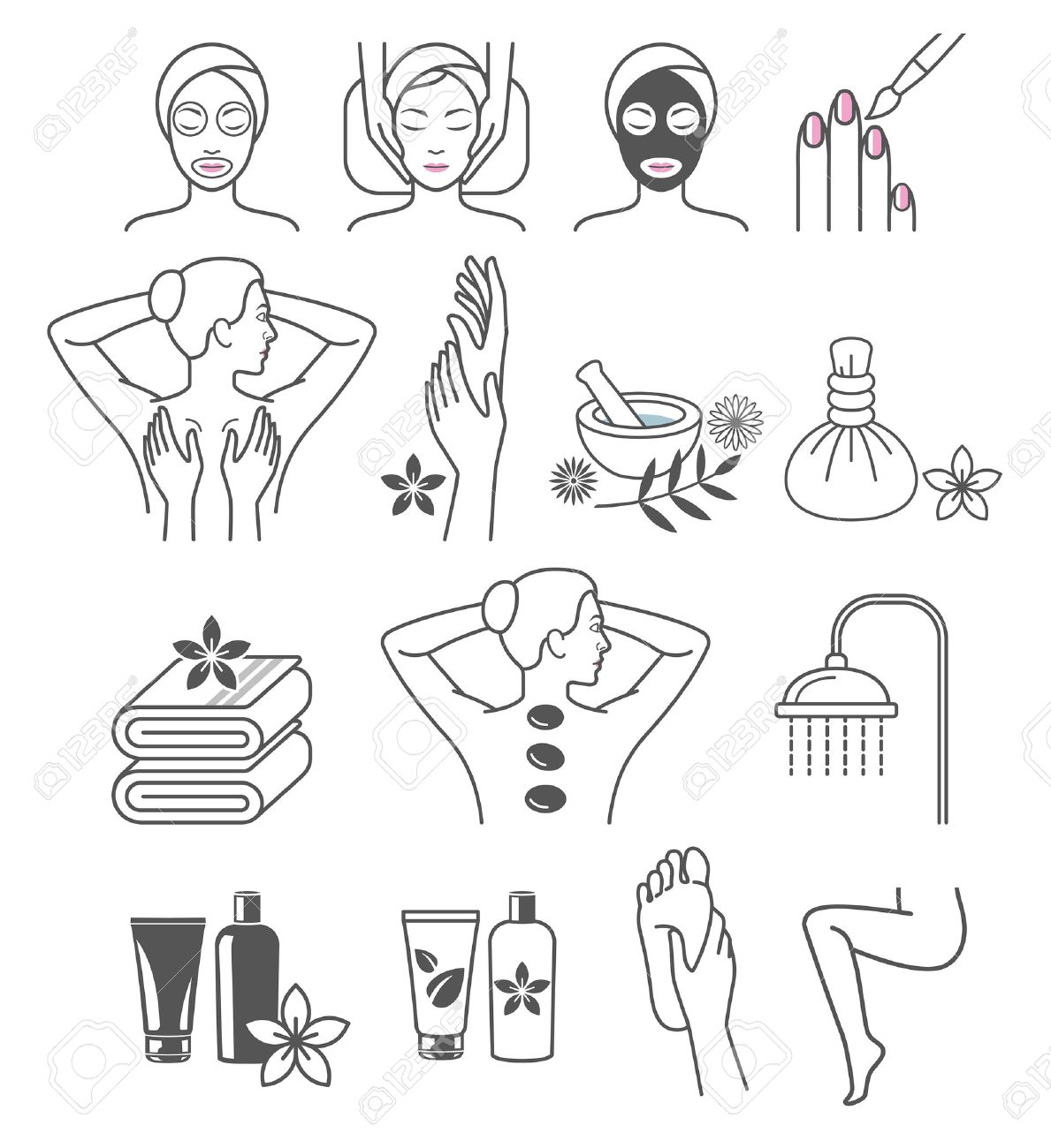 Spa Massage Therapy Skin Care & Cosmetics Services Icons. - 59069021
