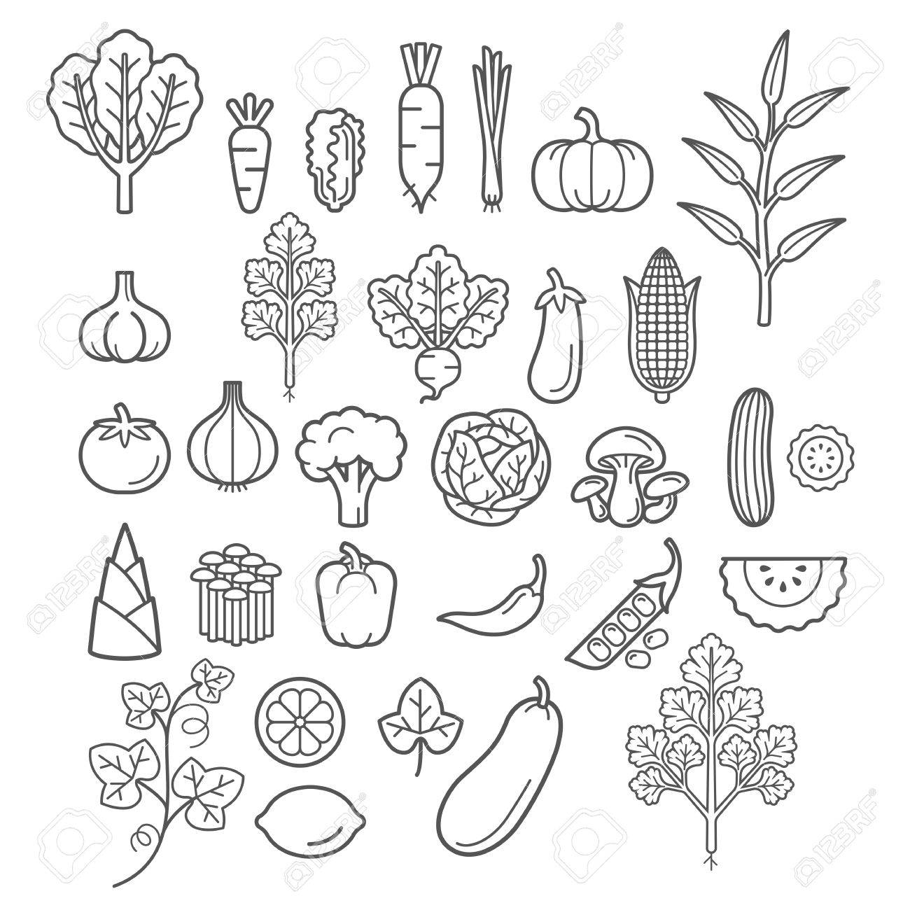 Vegetables icons. - 59069876