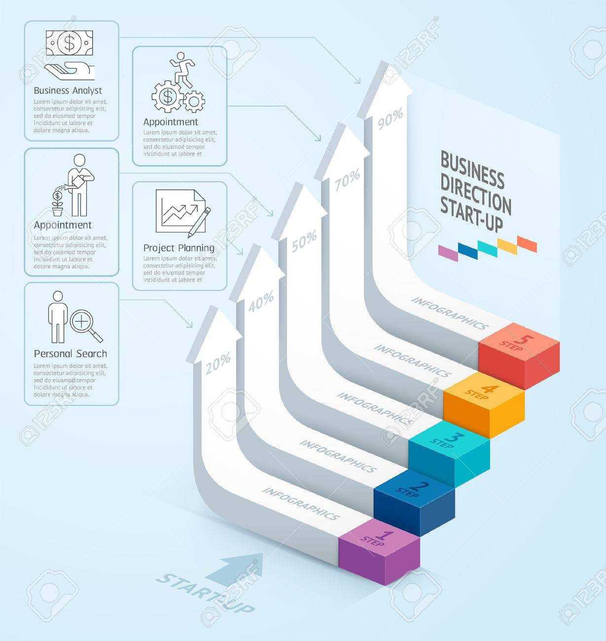 Starten Sie Business-Treppe Richtung Nach Oben. Illustration. Kann ...
