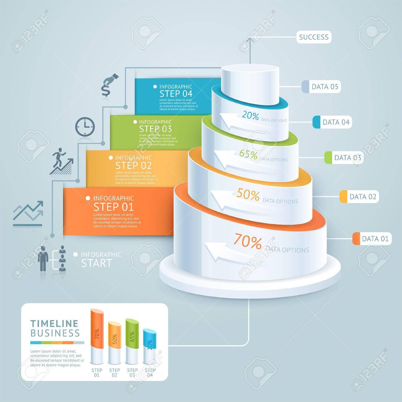 Business-Treppe Diagrammvorlage. Illustration. Kann Für Die Workflow ...