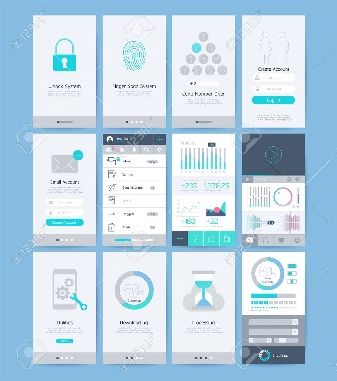 Interface and UI design elements  illustrations