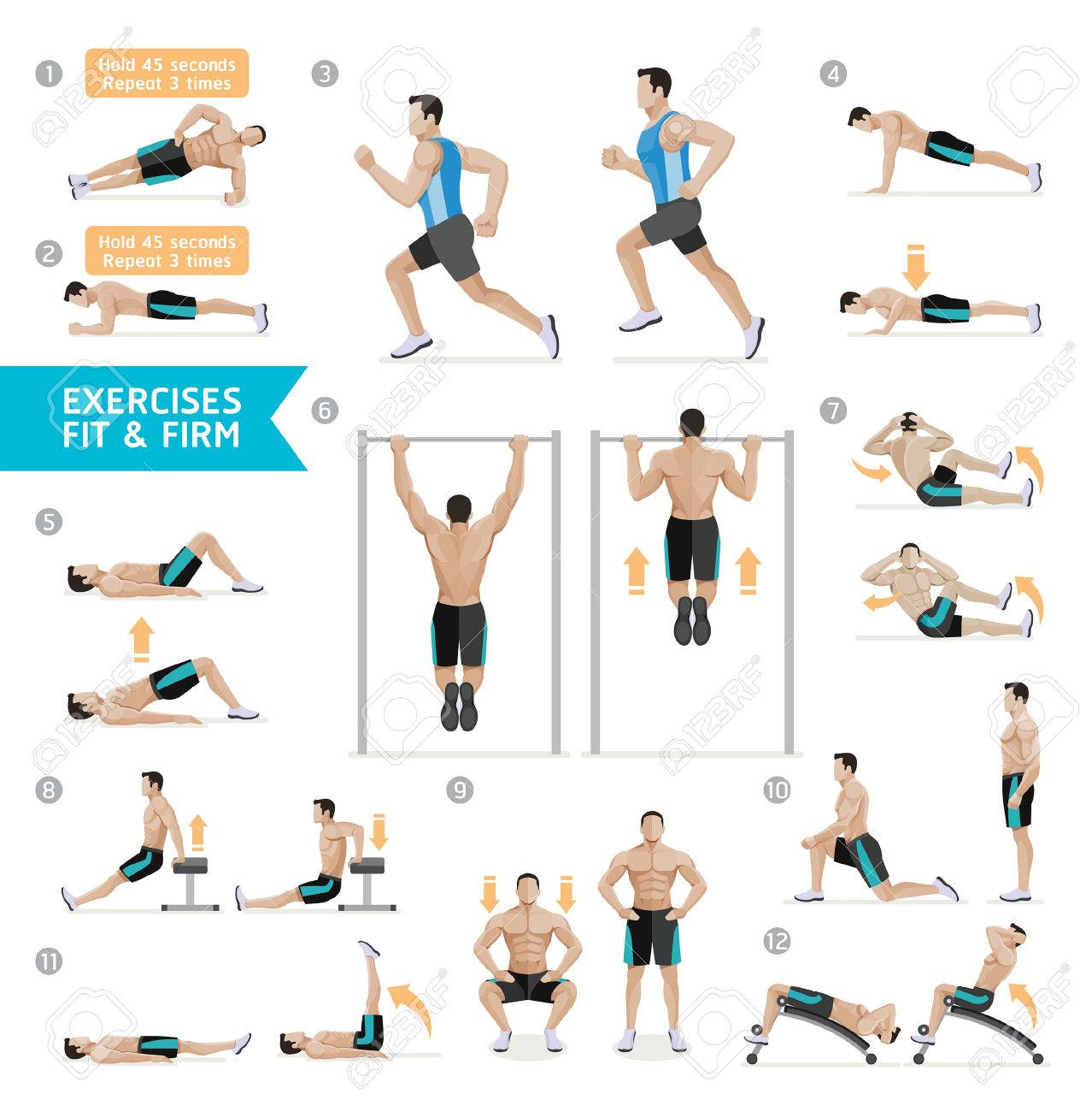 Man workout fitness, aerobic and exercises. Vector Illustration. - 68990768
