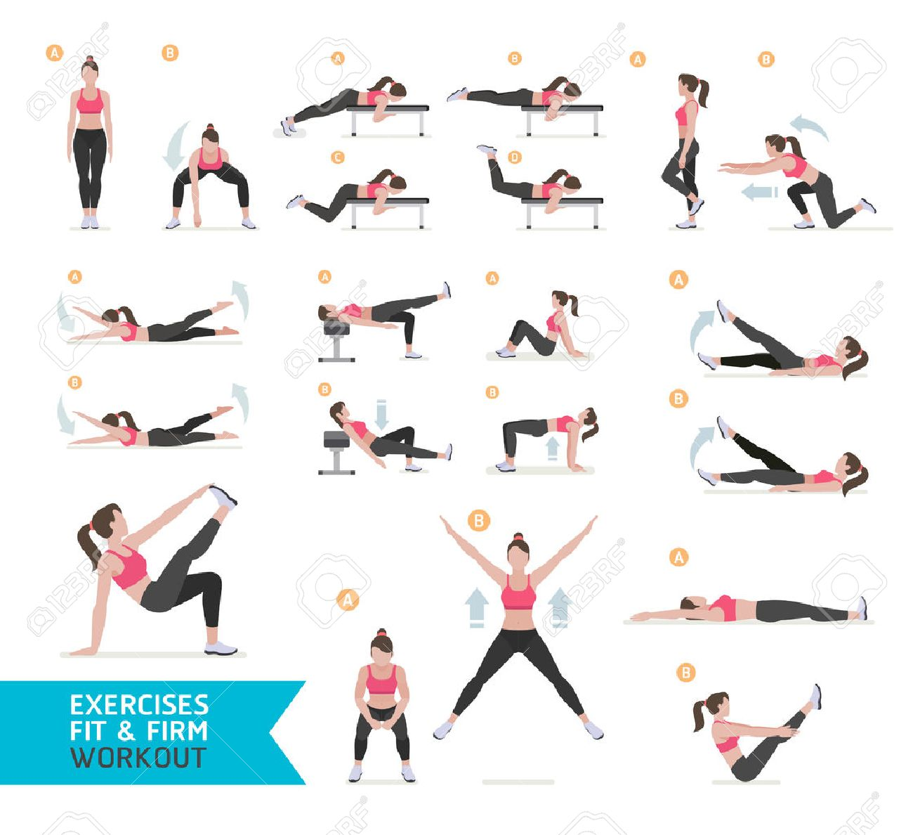 Woman workout fitness, aerobic and exercises. Vector Illustration. - 65940607
