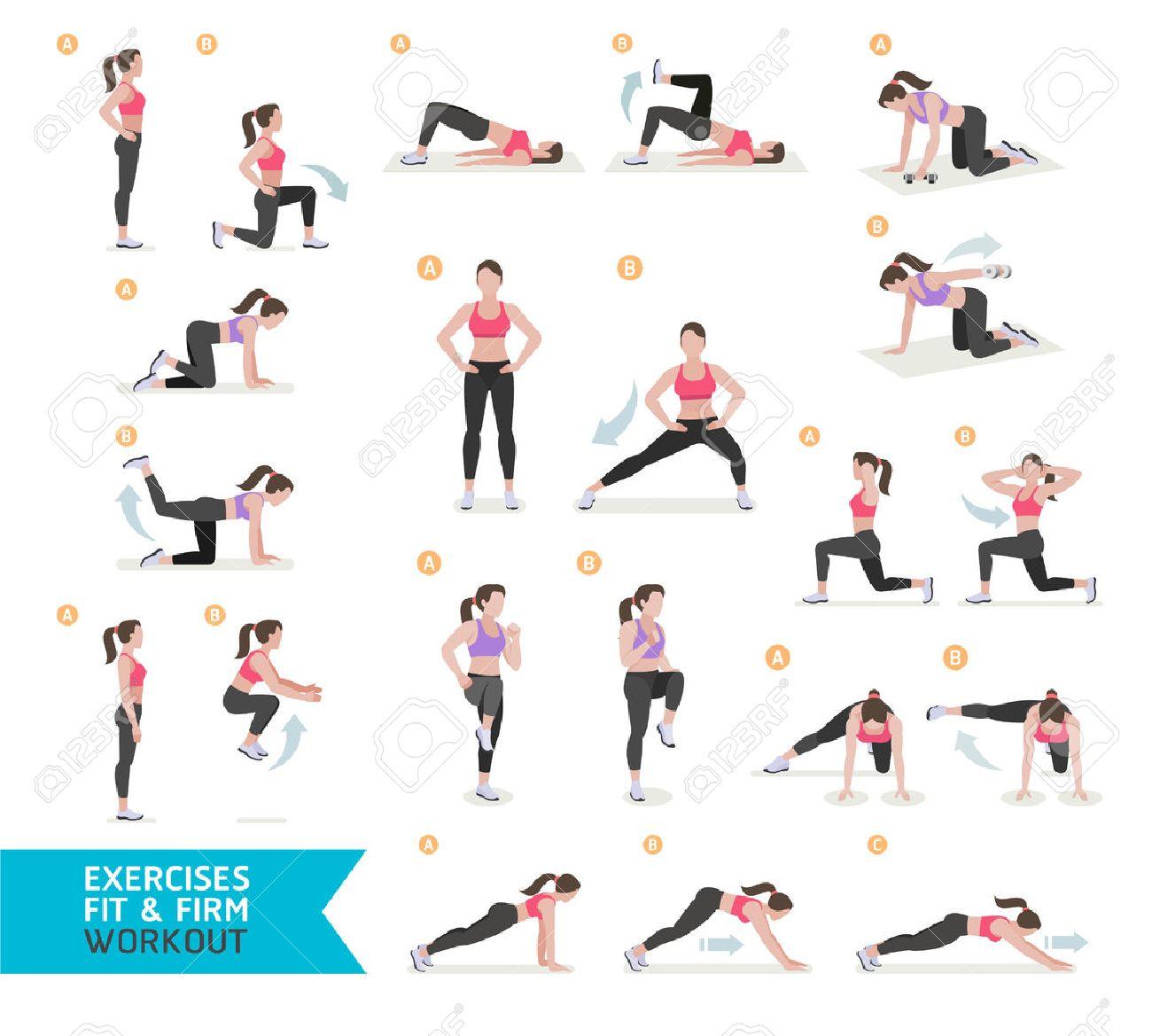 Frauen-Training Fitness, Aerobic Und Übungen. Vektor-Illustration ...